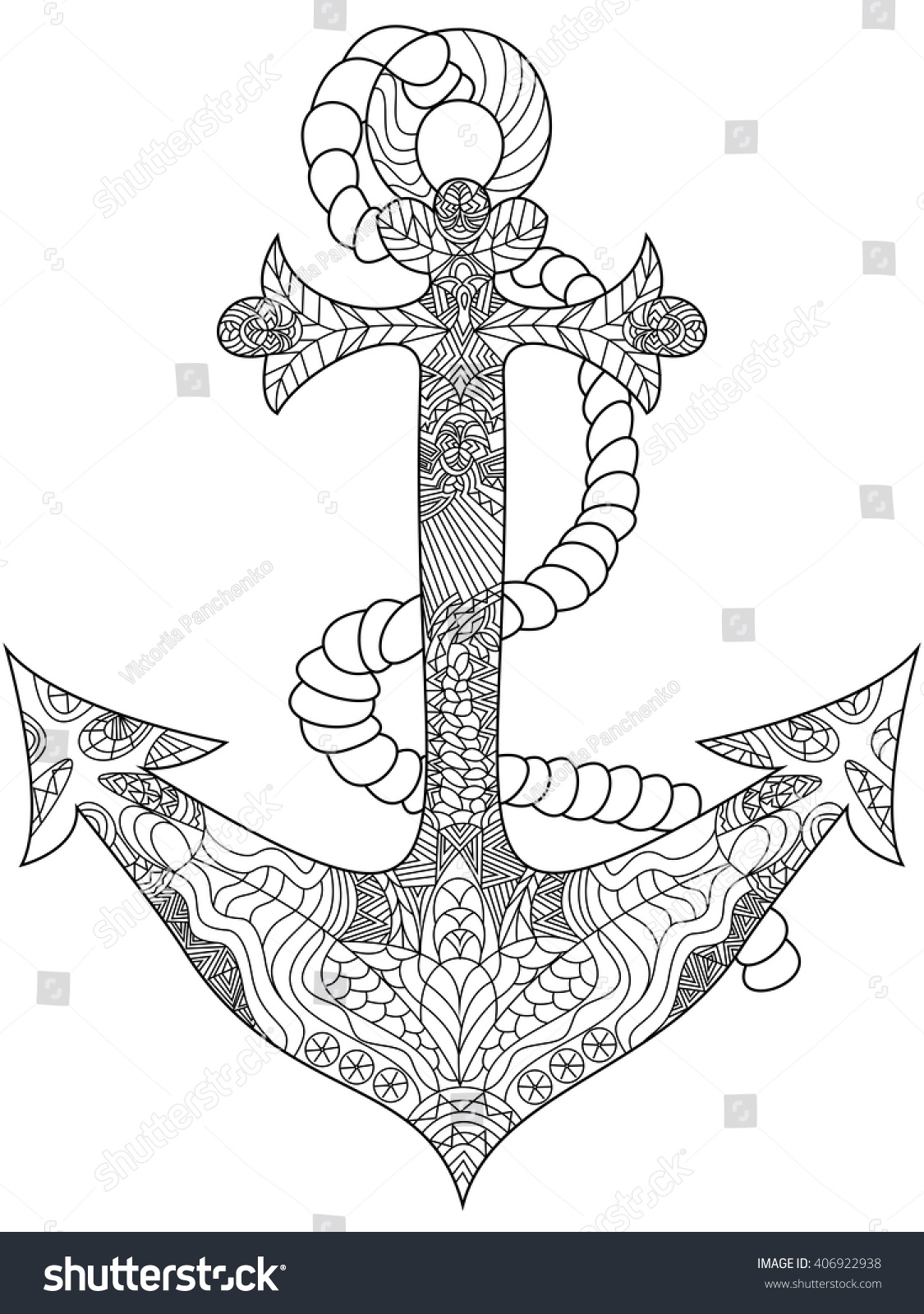 Anchor Coloring Book For Adults Vector Illustration Anti Stress Adult Zentangle
