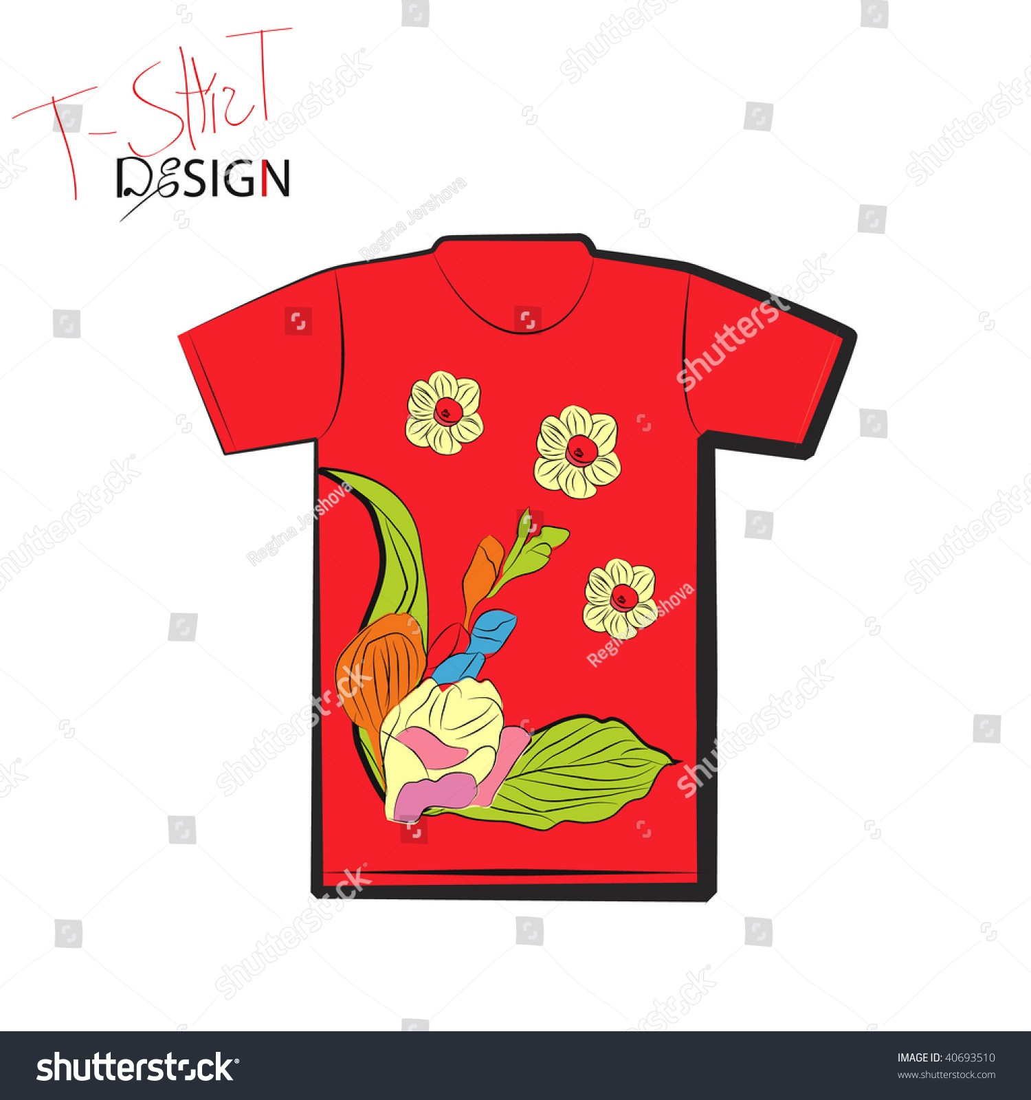 T shirt design with fresia and narcissus flowers stock for Shutterstock t shirt design