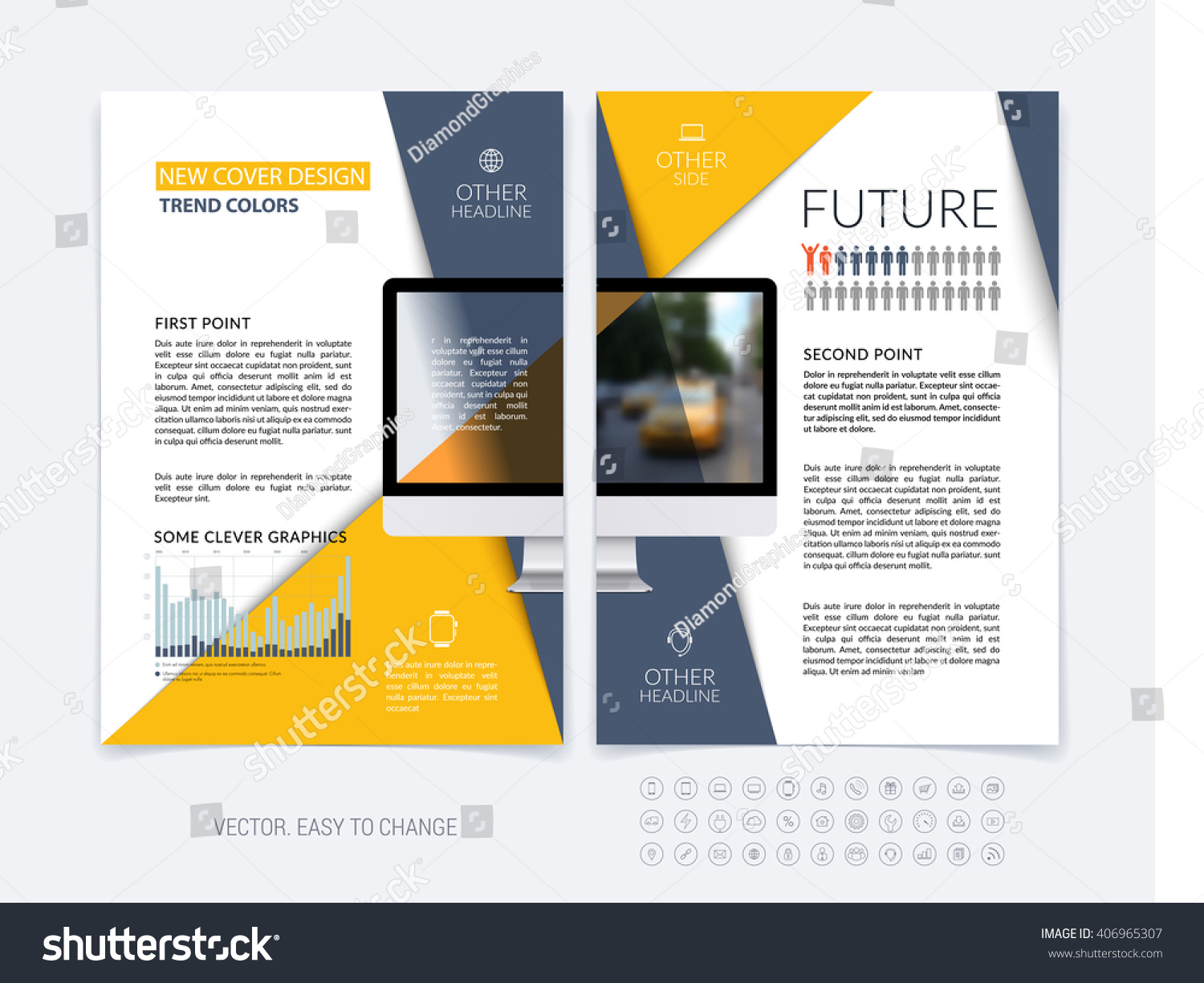 Business Brochure Template Layout Abstract Flyer Stock Vector - Mini brochure template