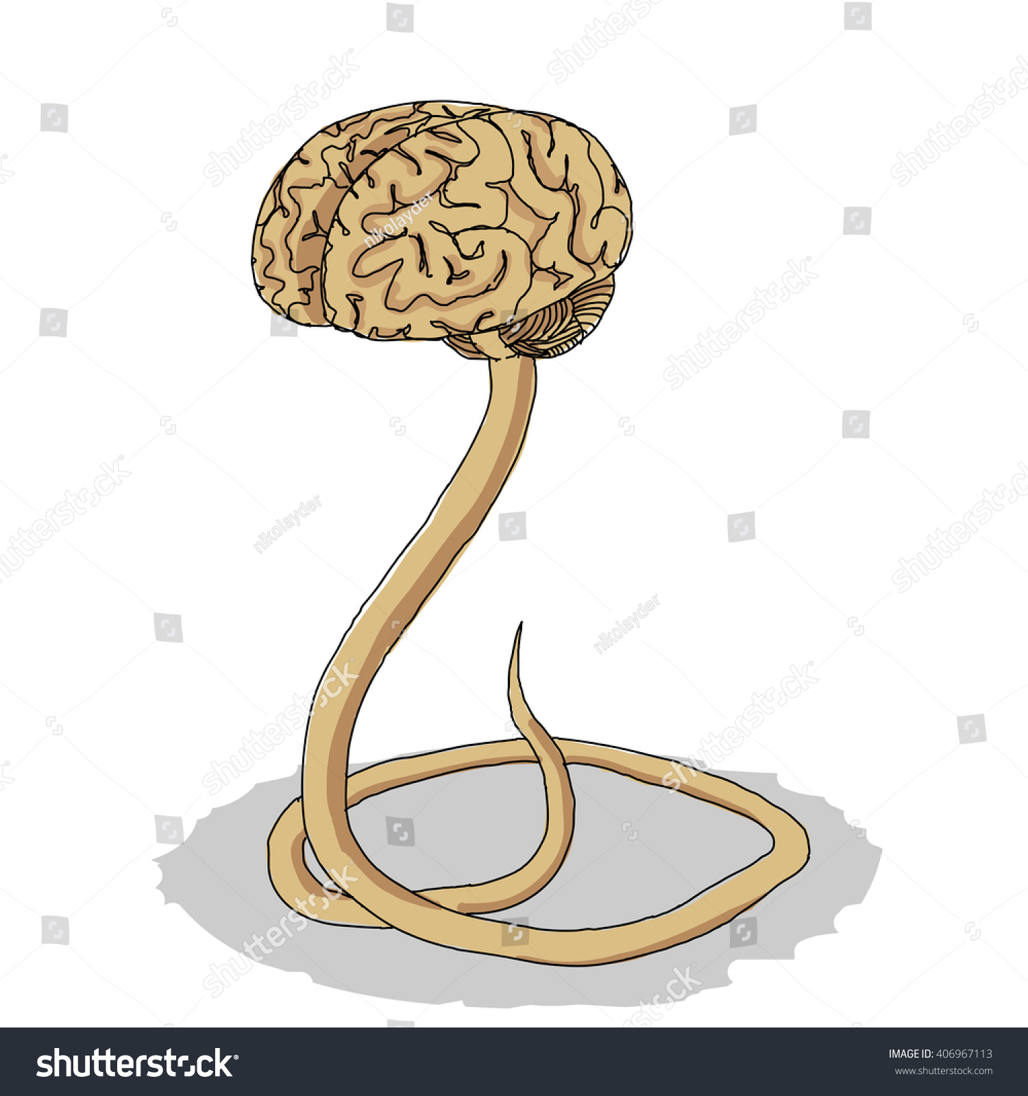 Handdrawn Human Brain Like Snake Brainstorm Stock Vector (Royalty ...