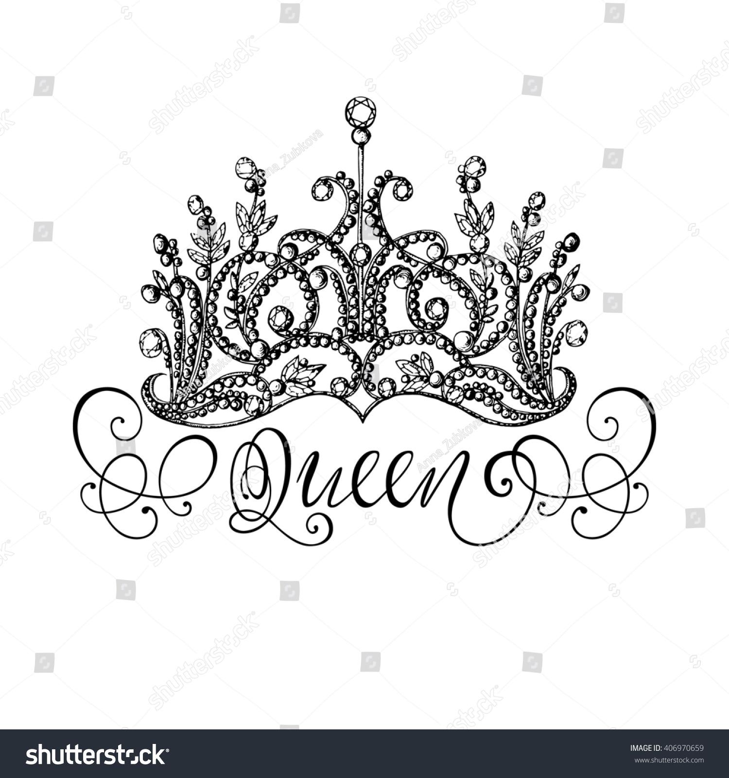 Elegant Handdrawn Queen Crown Lettering Graphic Stock Illustration ...