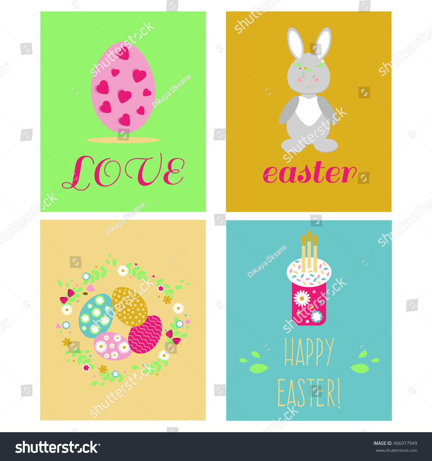 Happy Easter Greeting Cards Template Easter Stock Vector 406977949