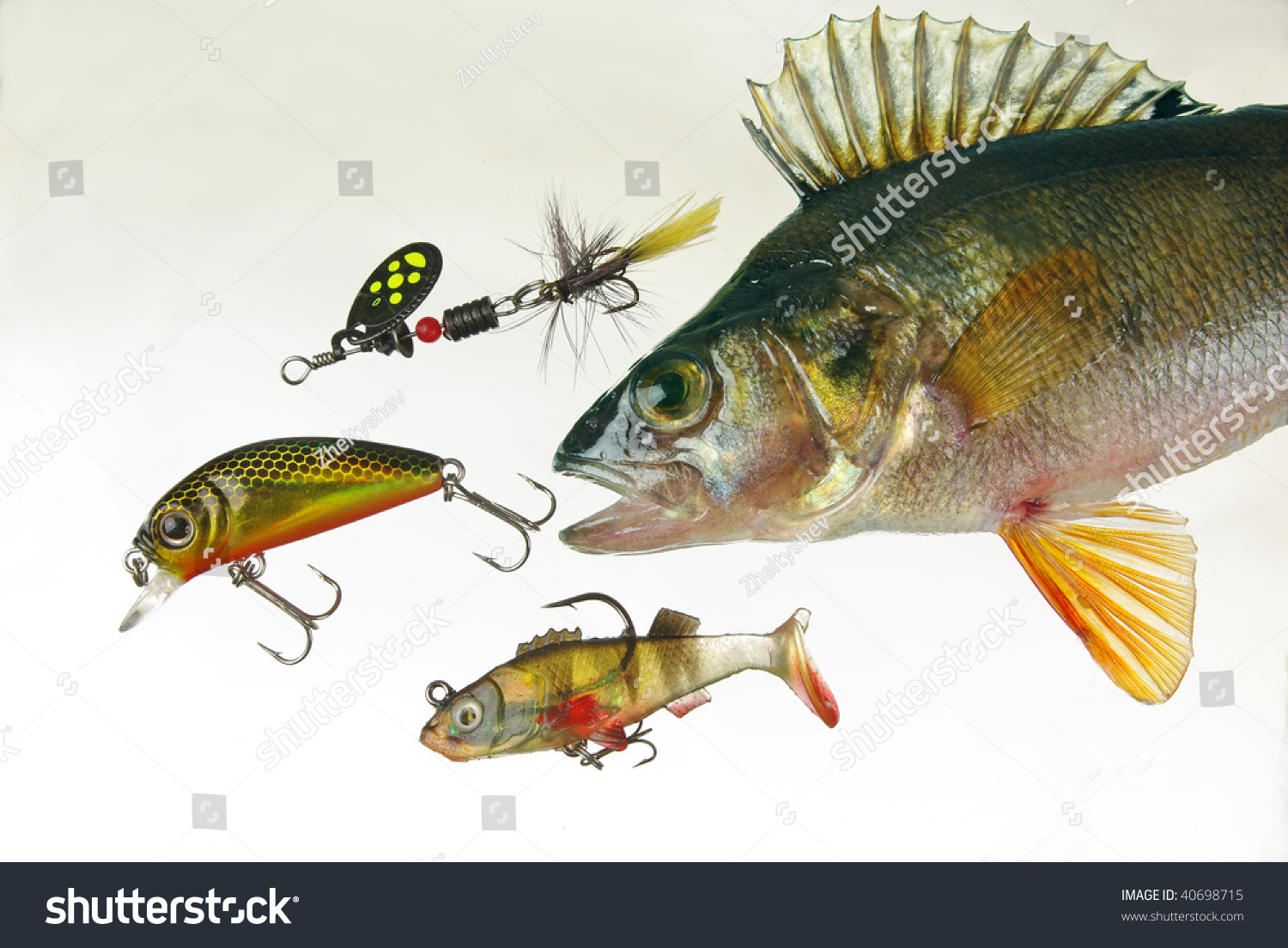 Perch baits fishing lures white stock photo 40698715 for Perch fishing lures