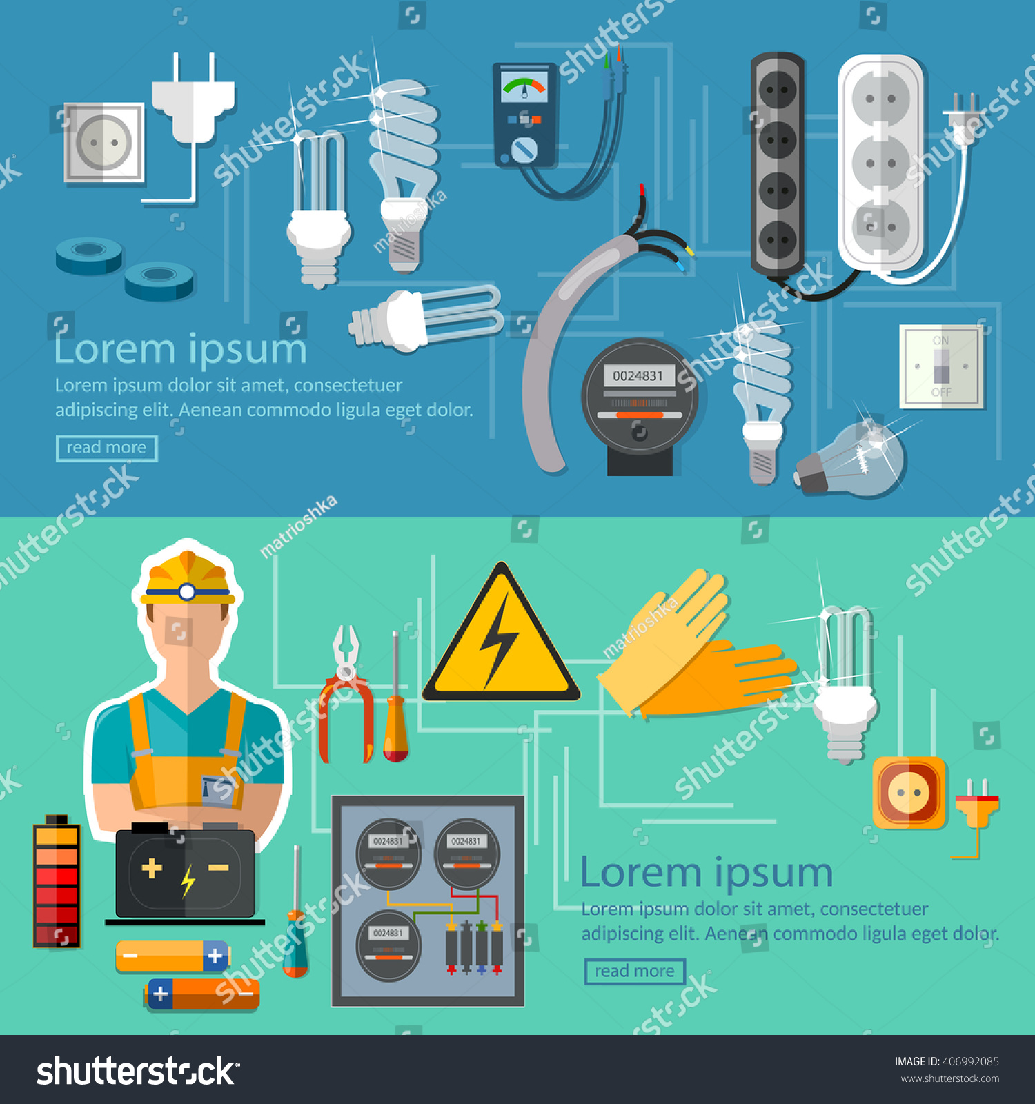 Professional Electrical Banner Electricity Energy Electric Stock Read An Drawing Basics Of Engineering Man In Yellow Hard Hat Household Supplies Vector Illustration