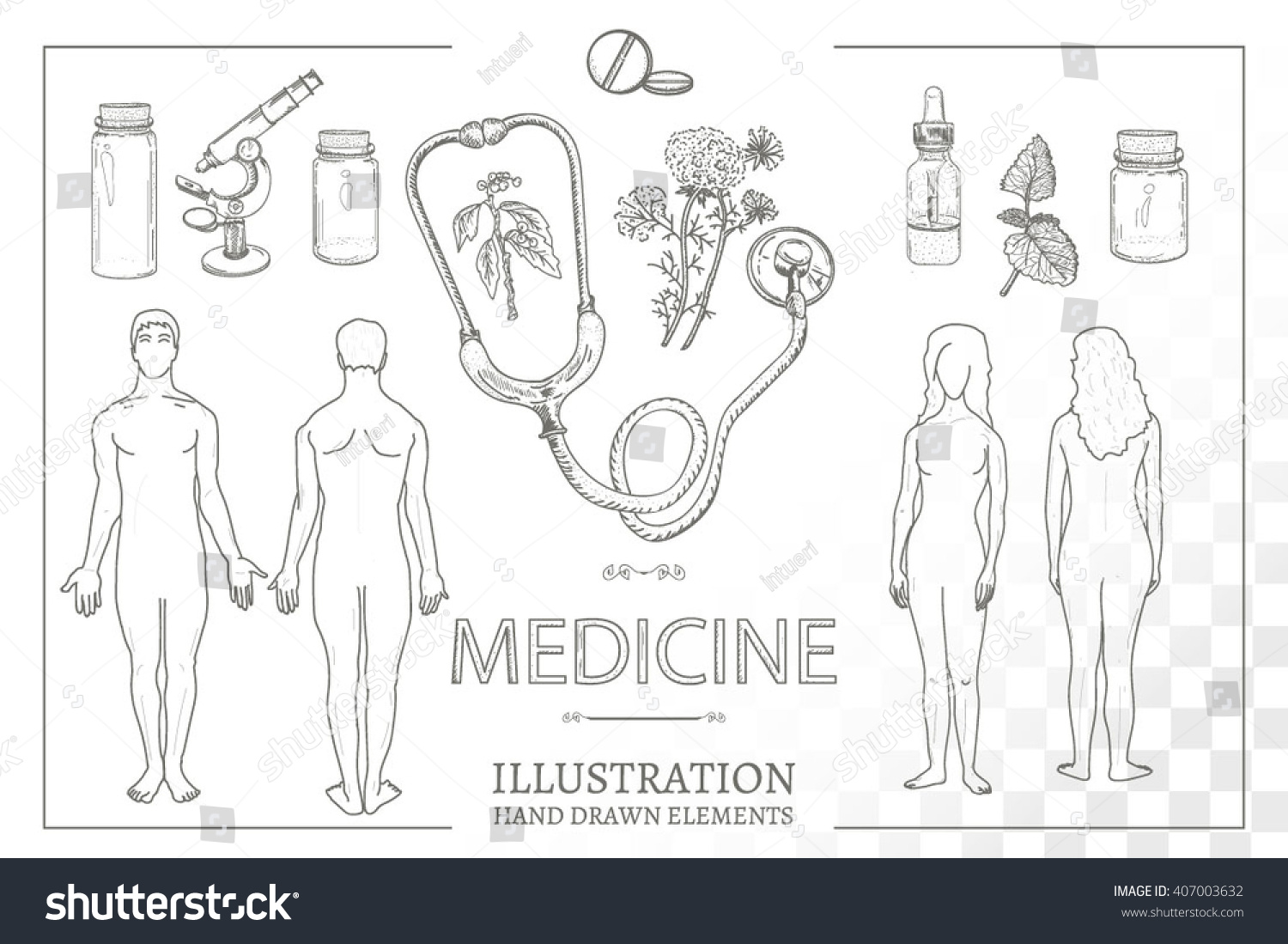 Medical Set Silhouettes Man Woman Male Stock Vector 407003632