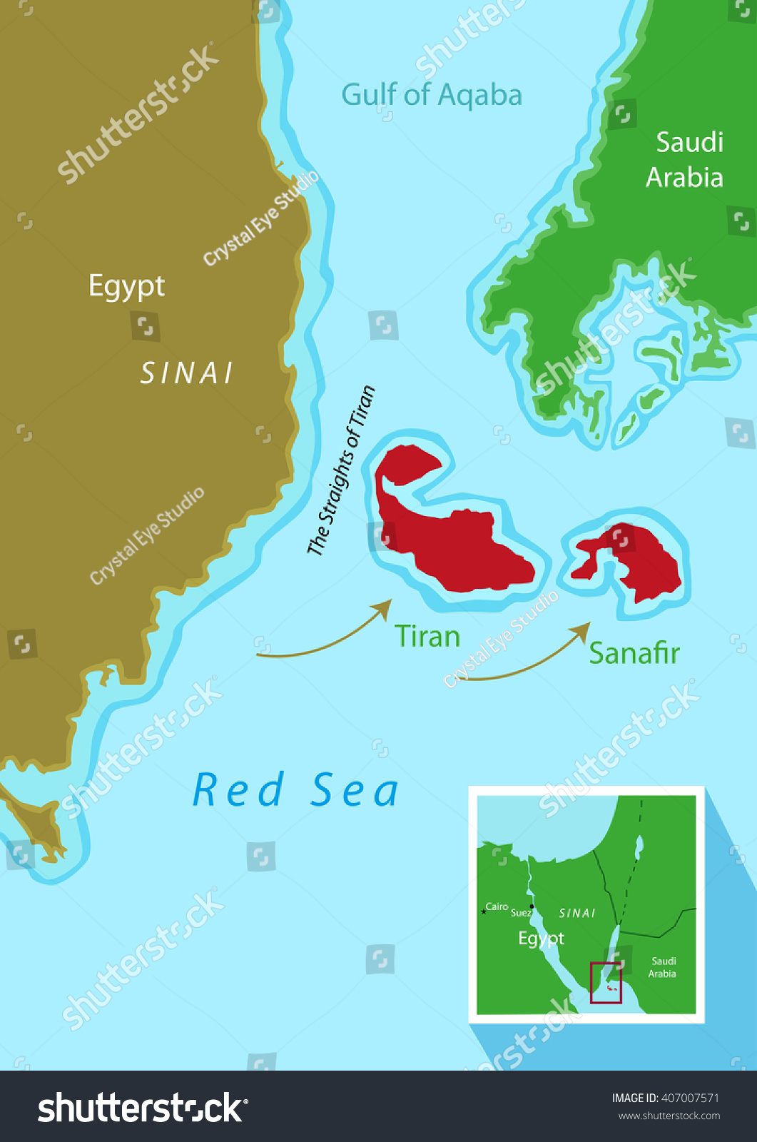 Tiran Sanafir Islands Deal Between Egypt Stock Vector - Map of egypt and saudi arabia