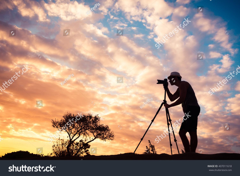 Male grapher Taking s Beautiful Nature Stock