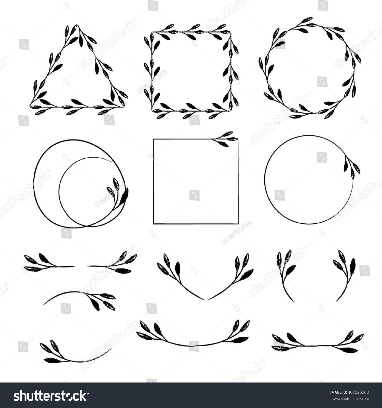 Botanical wreaths frames borders leaves clip stock vector botanical wreaths frames borders and leaves clip art vector design elements for greeting sciox Choice Image