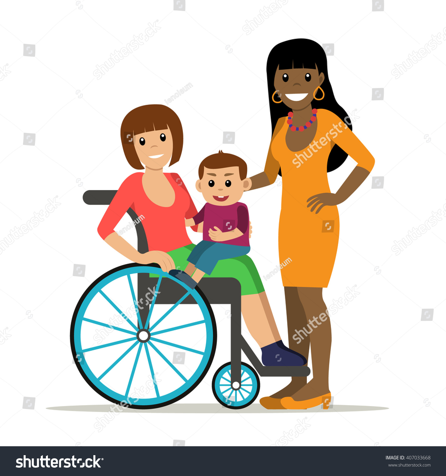 Disabled Young Woman Wheelchair Baby Girlfriend Stock Vector 407033668 - Shutterstock-6979
