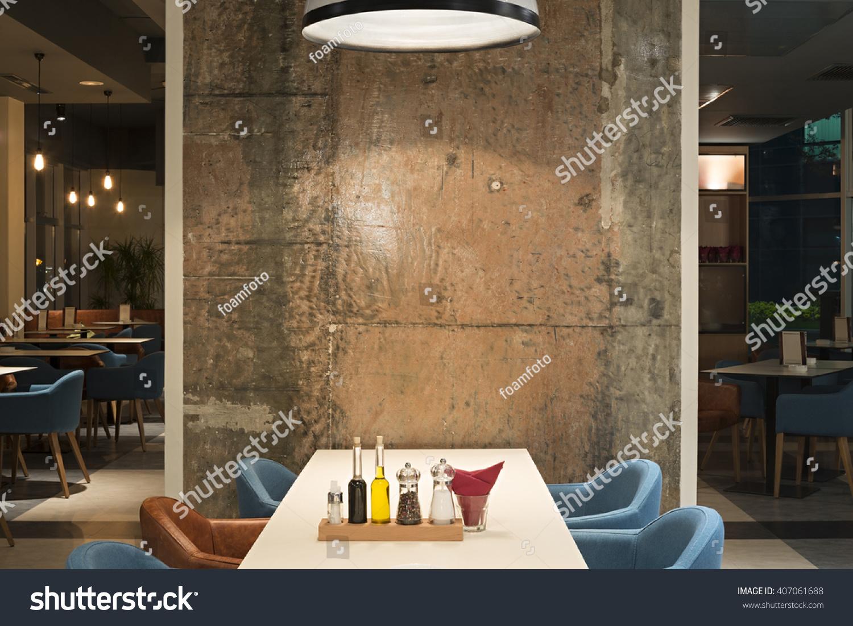 modern restaurant interior concrete wall stock photo 407061688