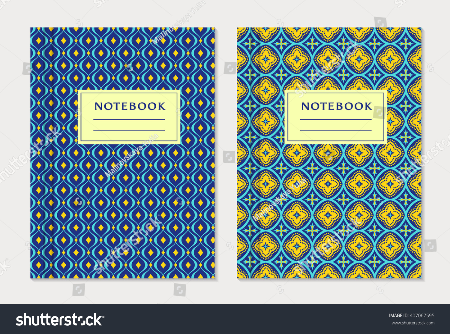 Exercise Book Cover Ideas : Notebook cover designs two exercise books stock vector