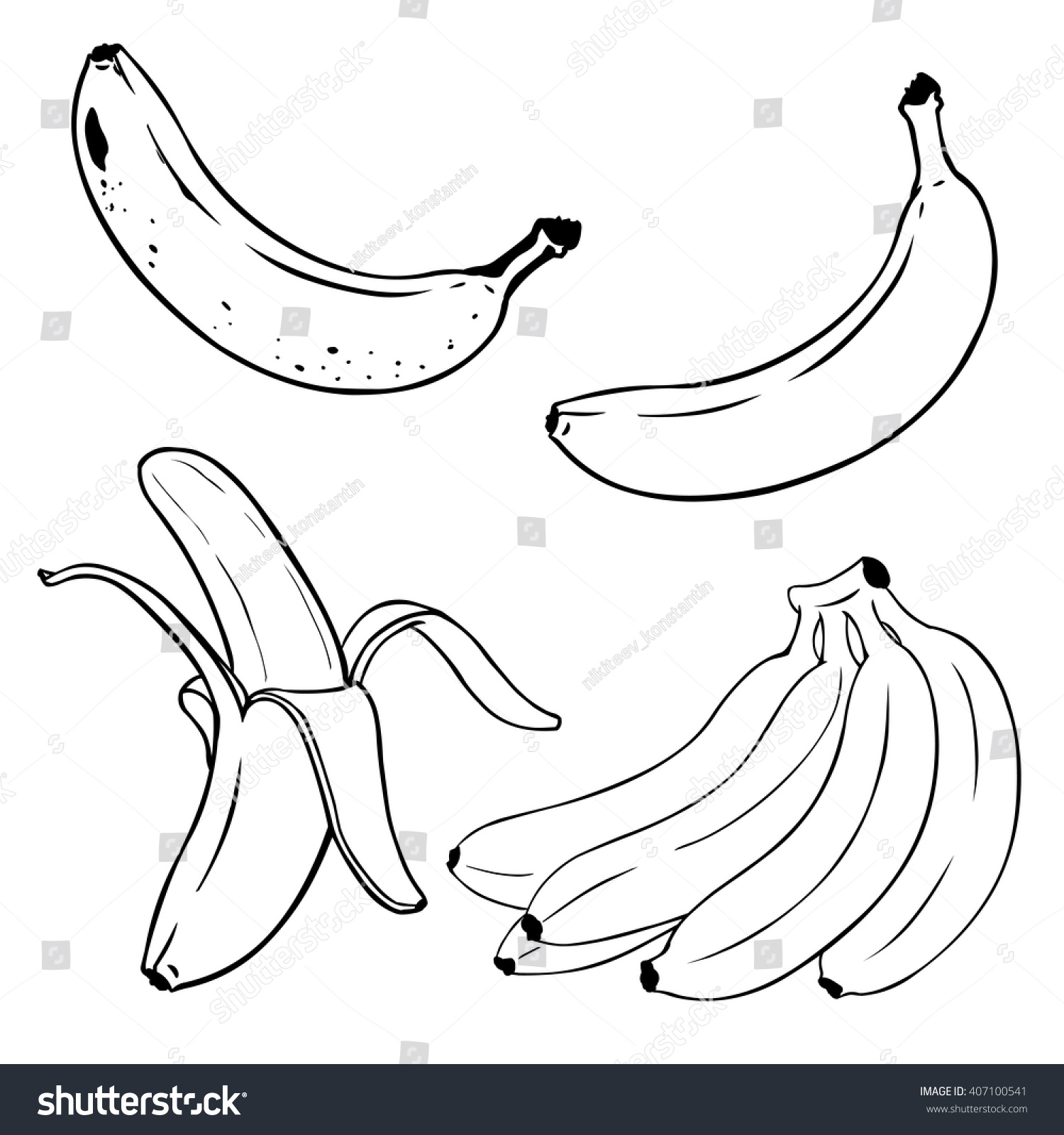 Line Drawing Banana : Vector set lineart bananas overripe banana stock