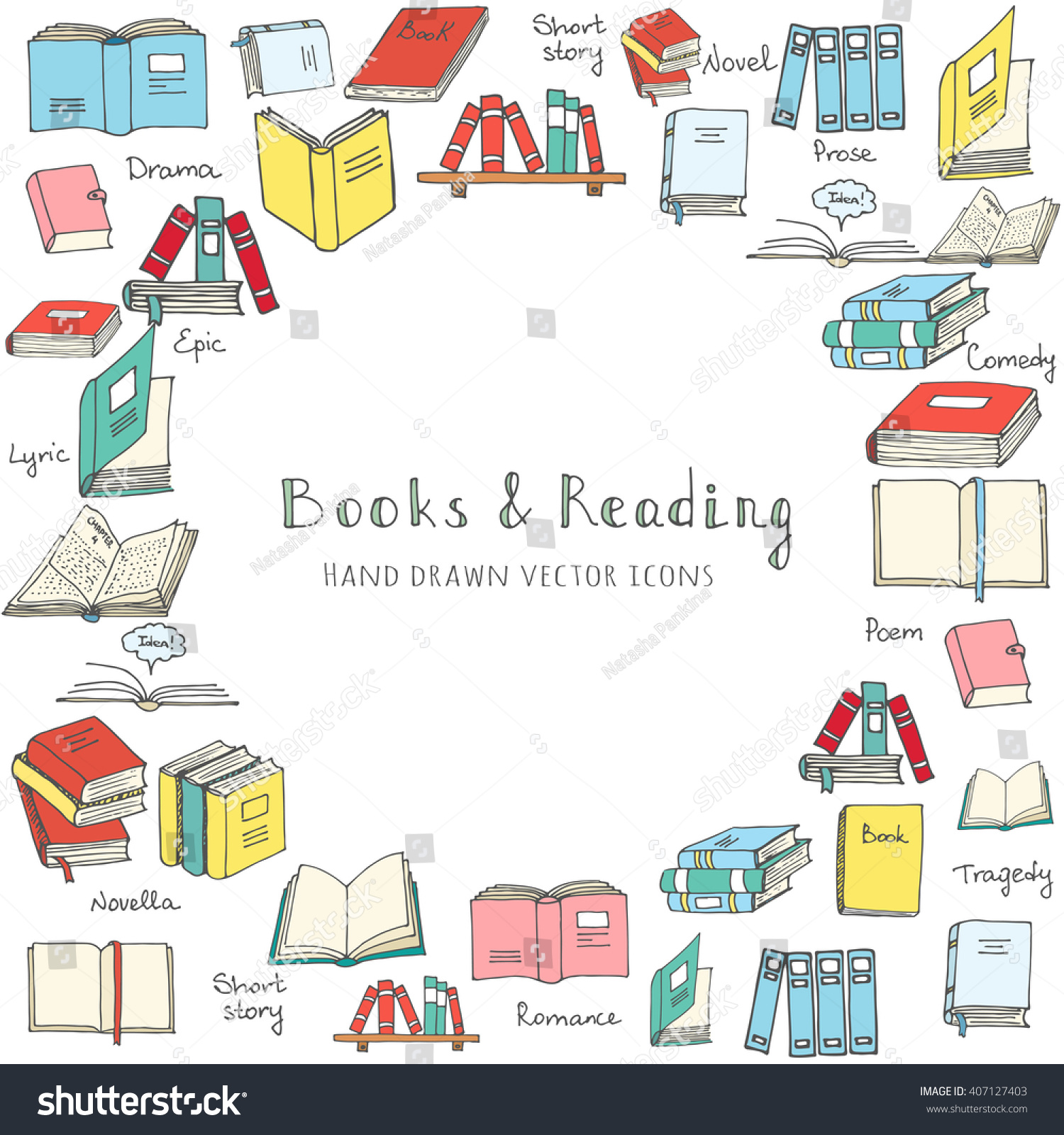 Hand Drawn Doodle Books Reading Set Stock Vector (Royalty