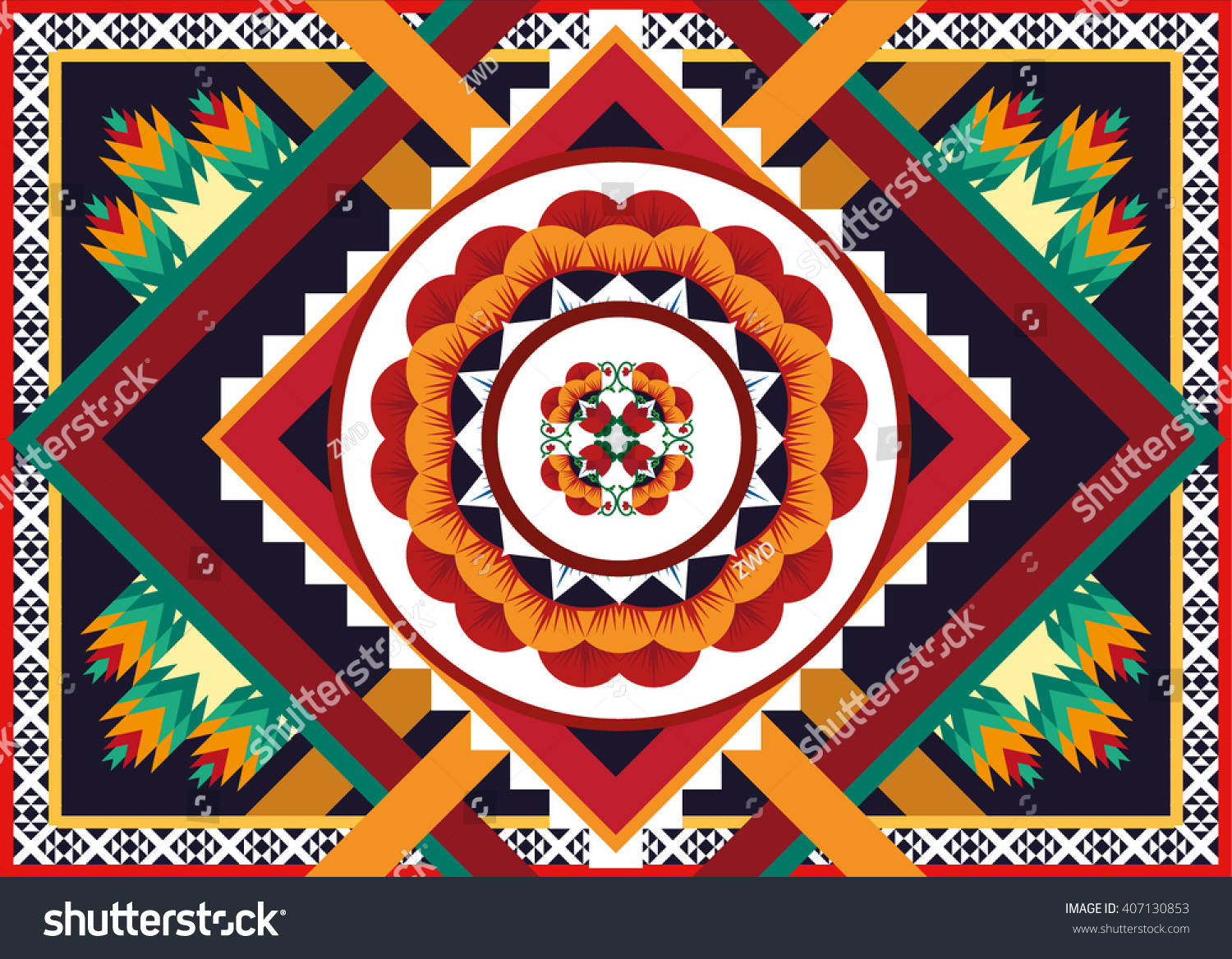 Geometric ethnic oriental flower pattern traditional Design for background carpet wallpaper clothing wrapping Batik fabric Vector illustration.embroidery style