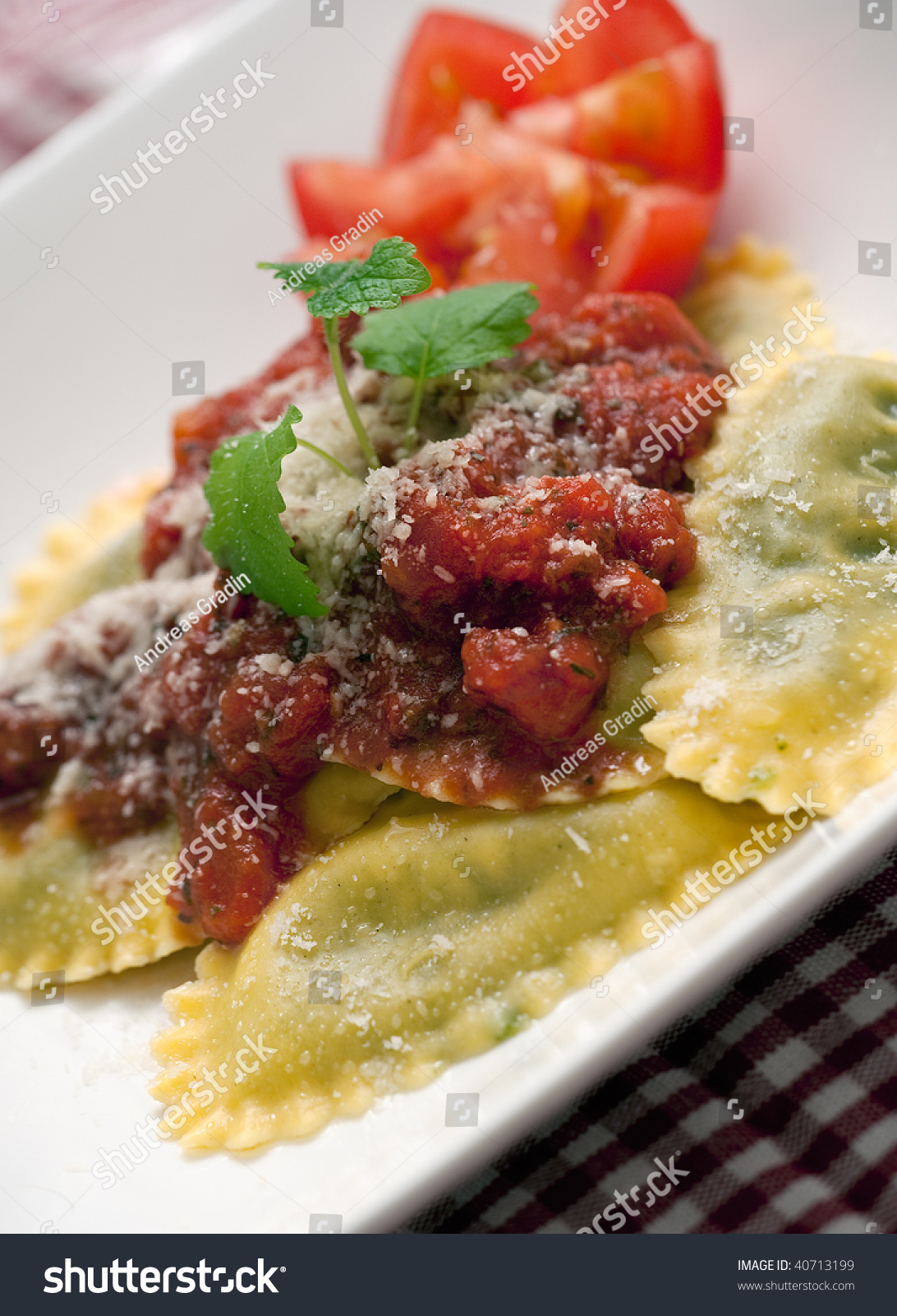 Fresh Pasta Dish With Tomato And Basil Sauce And Grated ...