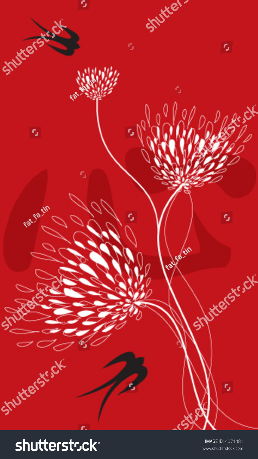 Lace Flowers Swallows On Red Vector Stock Vector (Royalty