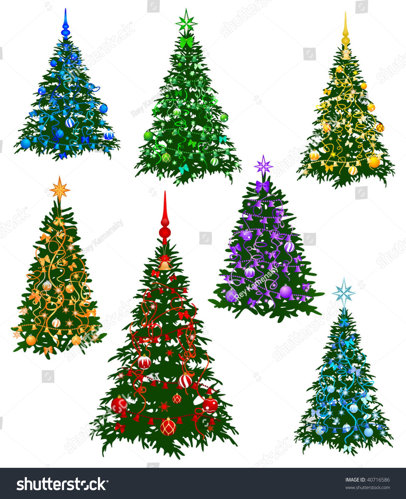 Image Seven Christmas Furtree Decorated By Stock Photo (Photo ...