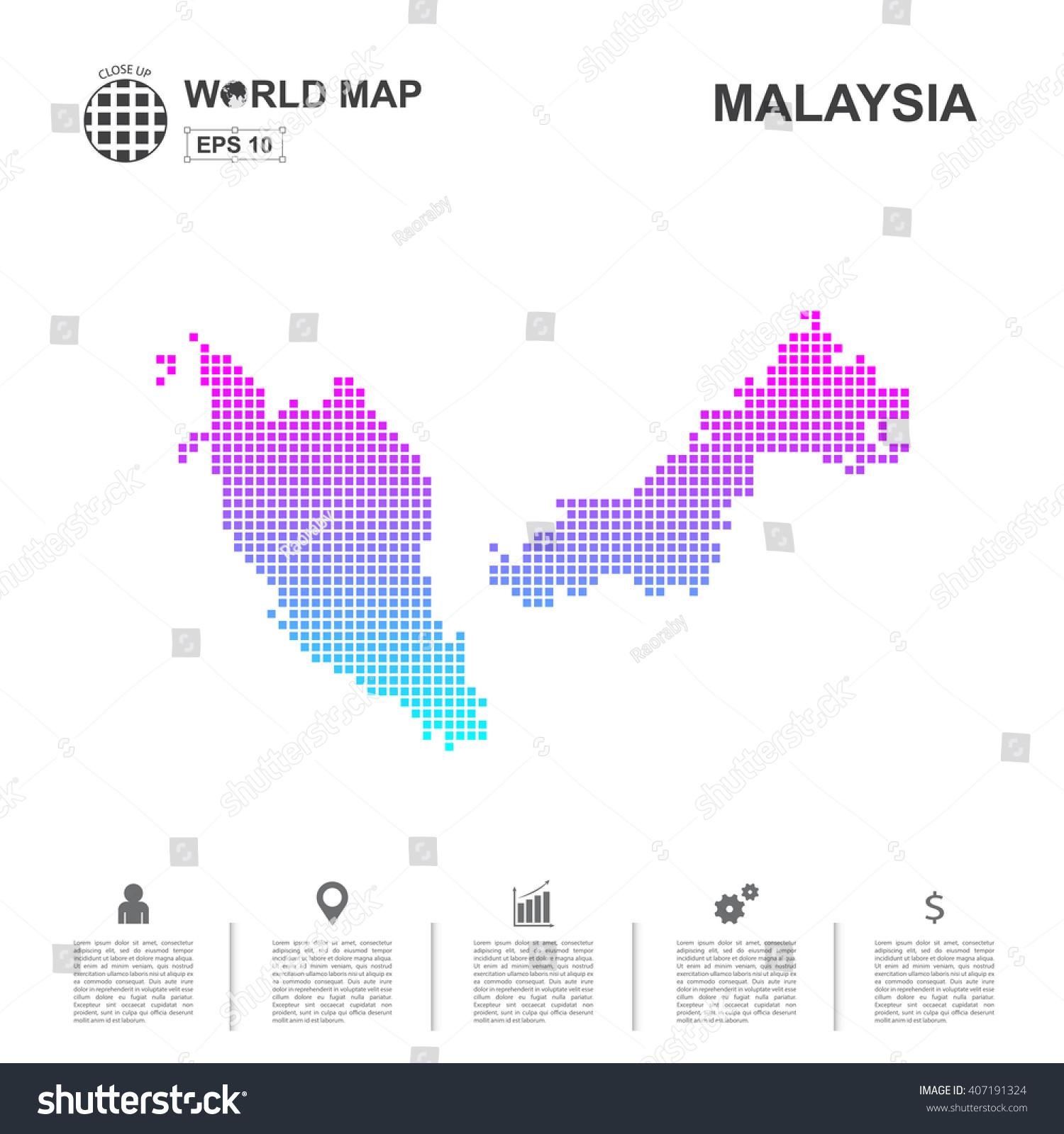 Map malaysia pixel vector stock vector 407191324 shutterstock map of malaysia pixel vector gumiabroncs Images