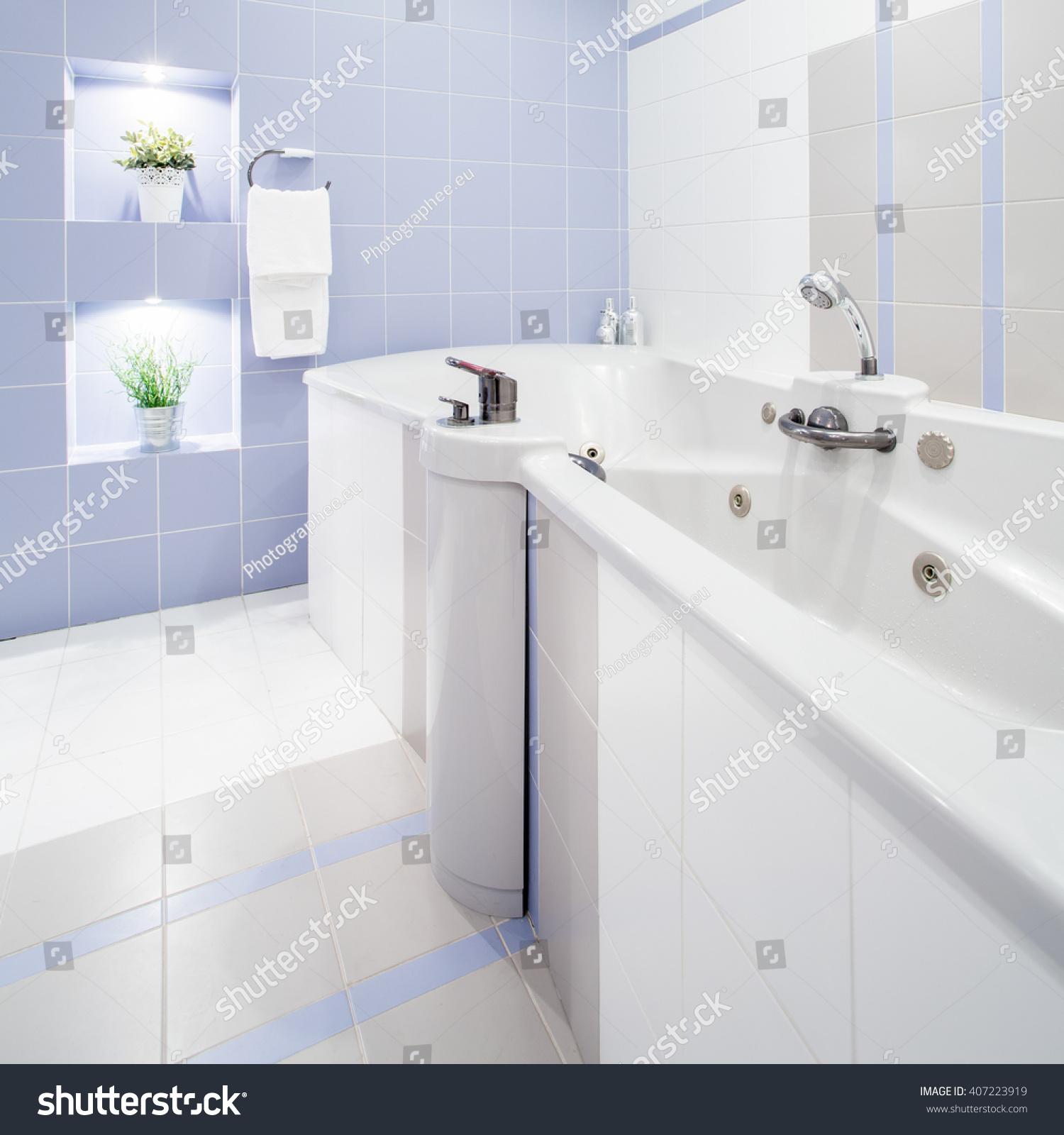 Big Bathtub Massage White Luxury Washroom Stock Photo (Royalty Free ...