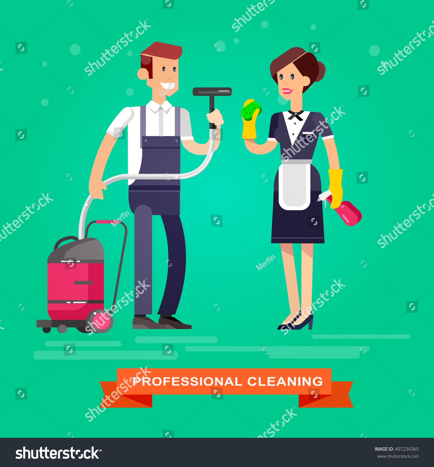 Poster design kit - Poster Design For Cleaning Service And Supplies Vector Detailed Character Professional Housekeeper Kit Icons