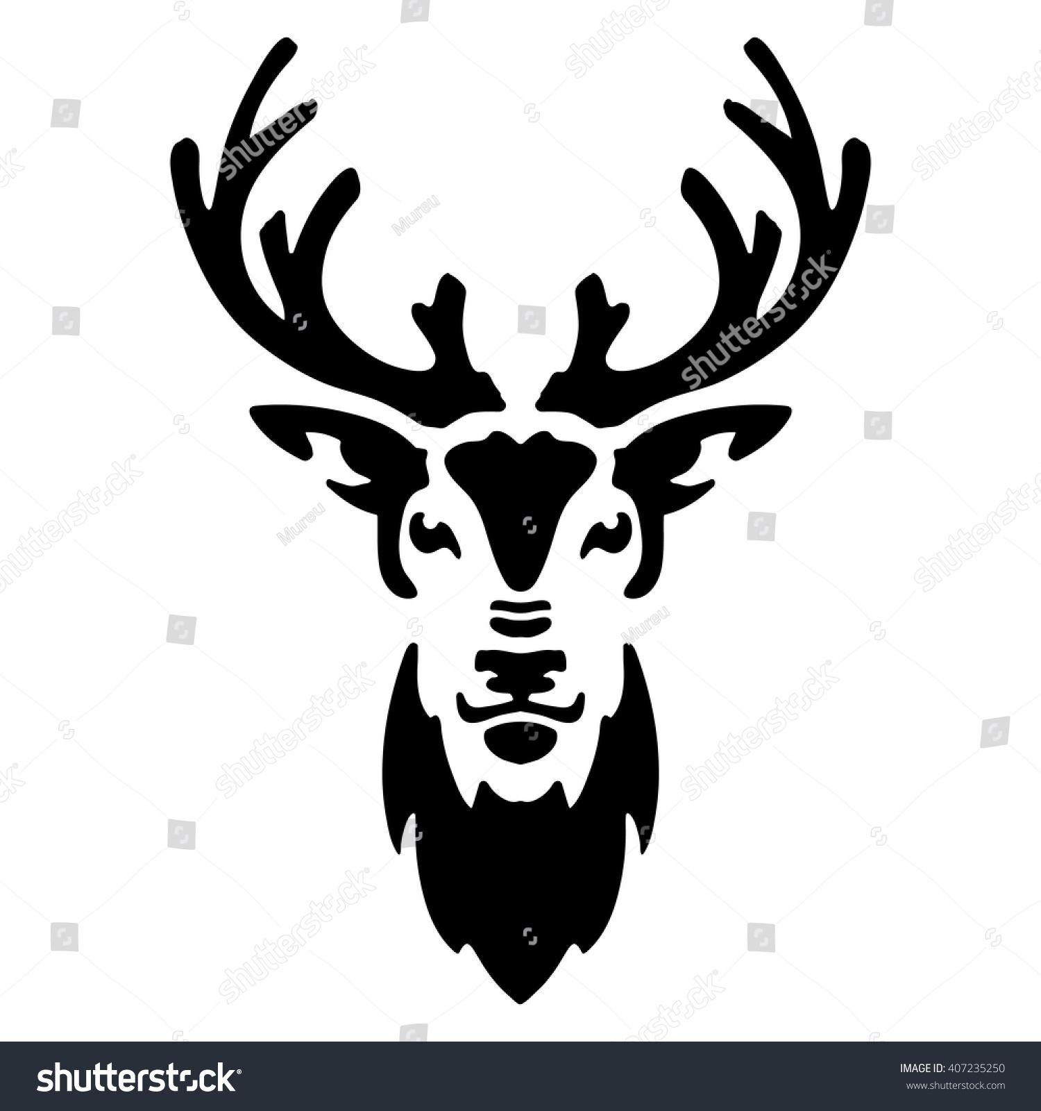 Stylized Deer Head Silhouette Deer Head Stock Vector Royalty Free 407235250