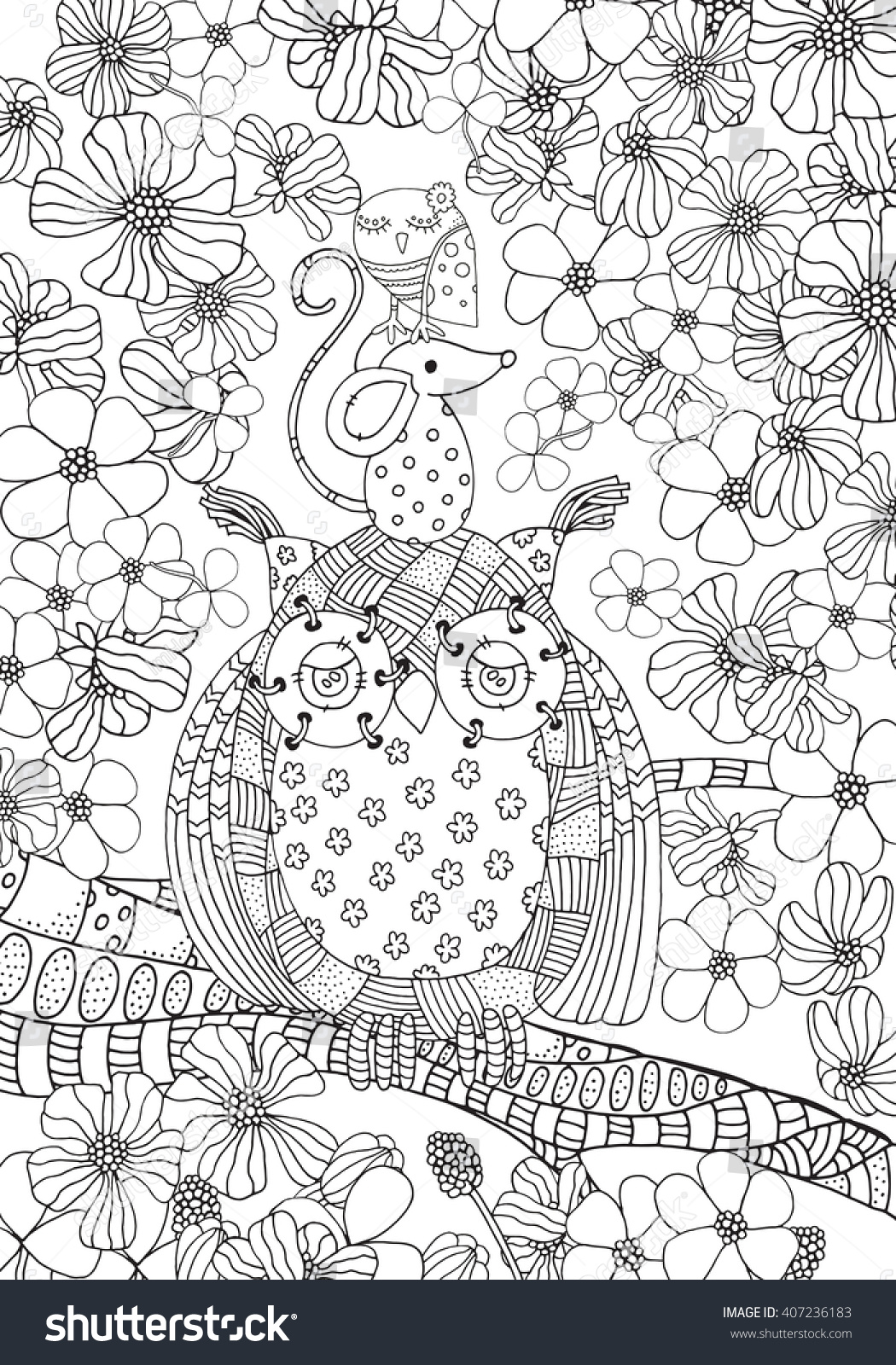 old owl mouse little bird friendship stock vector 407236183