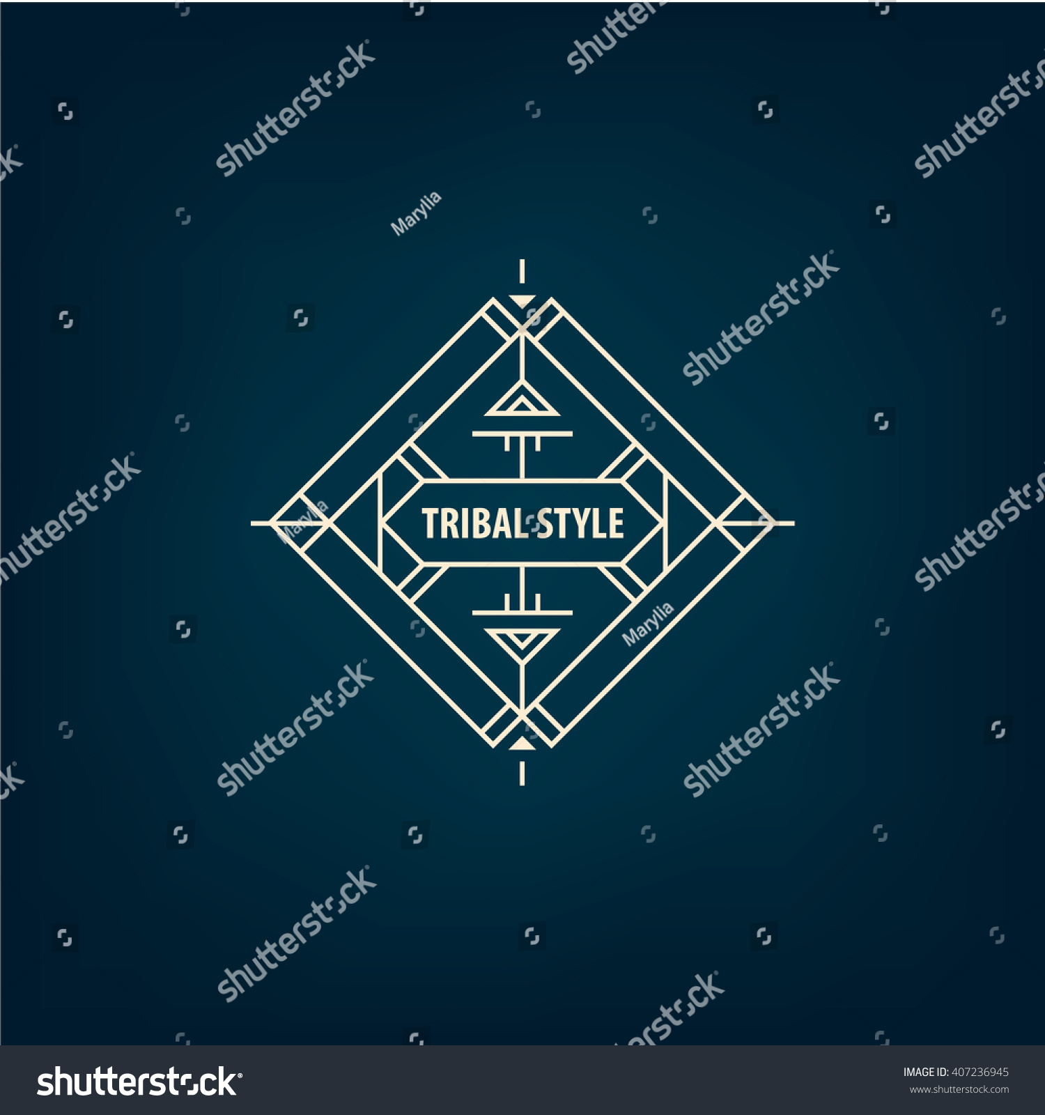 Line Shape Space : Vector abstract tribal line shape logo stock