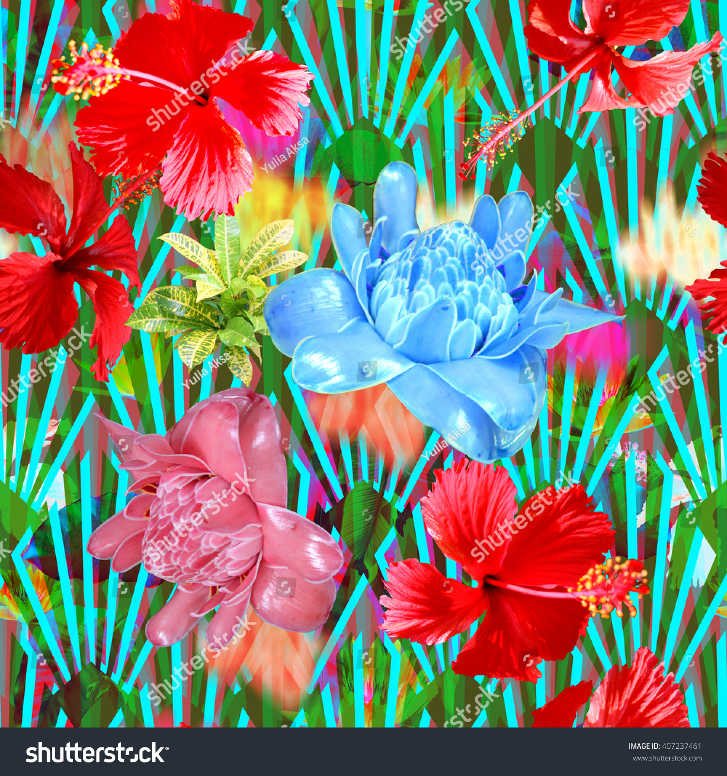 Tropical Flowers Background Collage Color Blur Stock Illustration