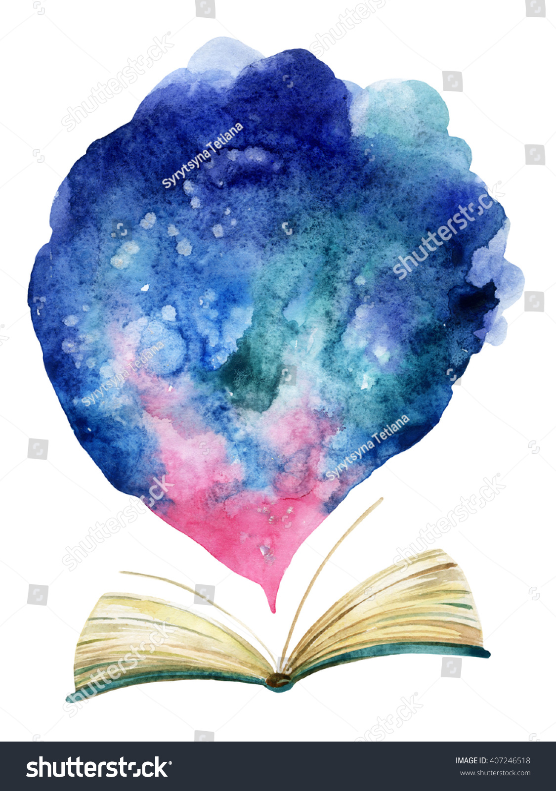 Book Cover Watercolor Paint ~ Watercolor open book with magic cloud the whole world in
