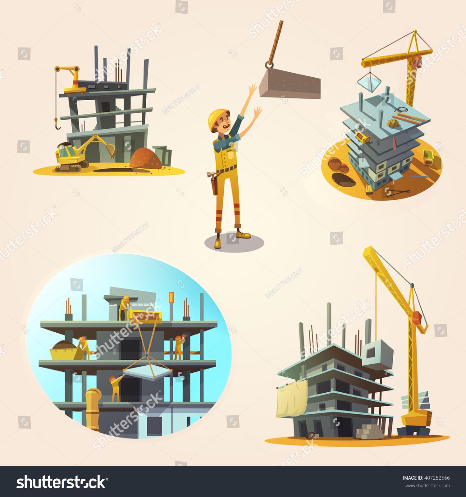 Building Construction Cartoon : Construction concept set building process retro stock