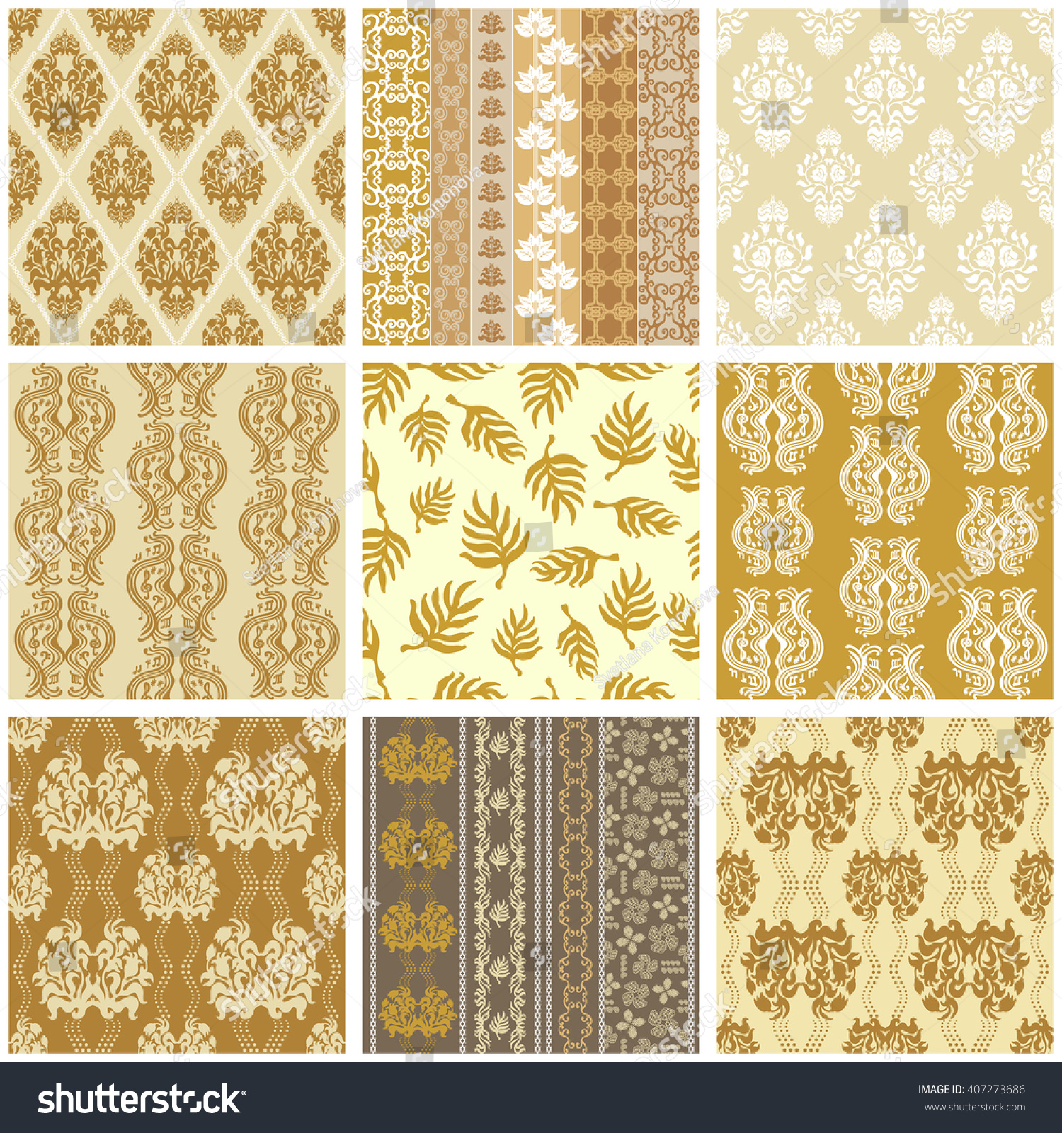 Italian ornaments - Big Set Of Golden Victorian Vintage Wallpapers Seamless Floral Patterns Geometric Borders Damask
