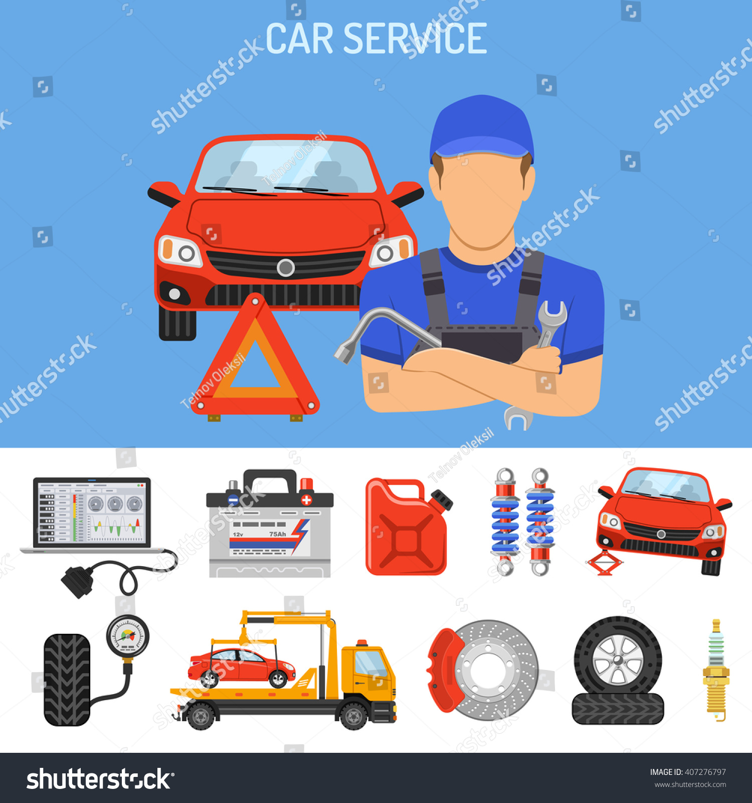 car service concept flat icons poster stock-vektorgrafik (lizenzfrei