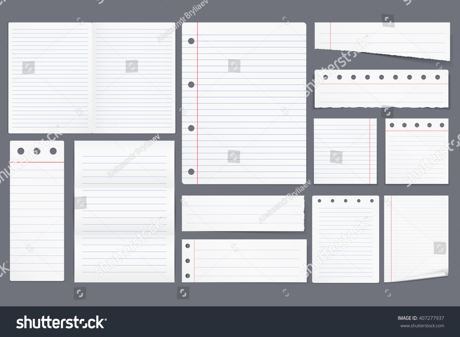 Set Different Blank White Lined Paper Vector 407277937 – Vertical Lined Paper