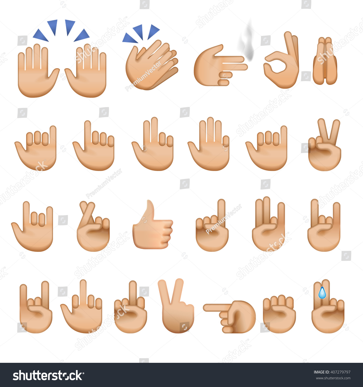 Set Hands Icons Symbols Emoji Different Stock Vector 407279797