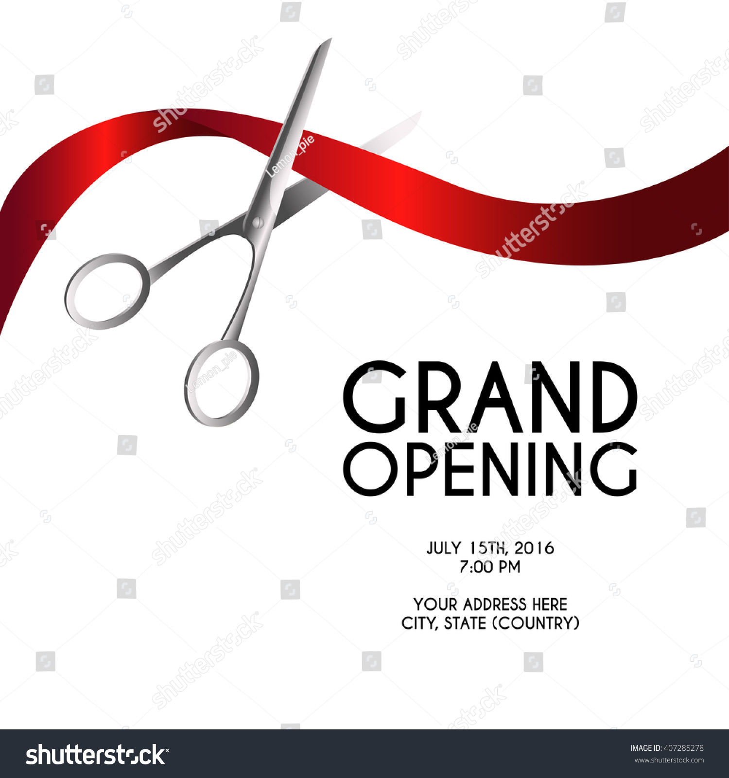 Grand Opening Poster Mock Up With Silver Scissors Cutting