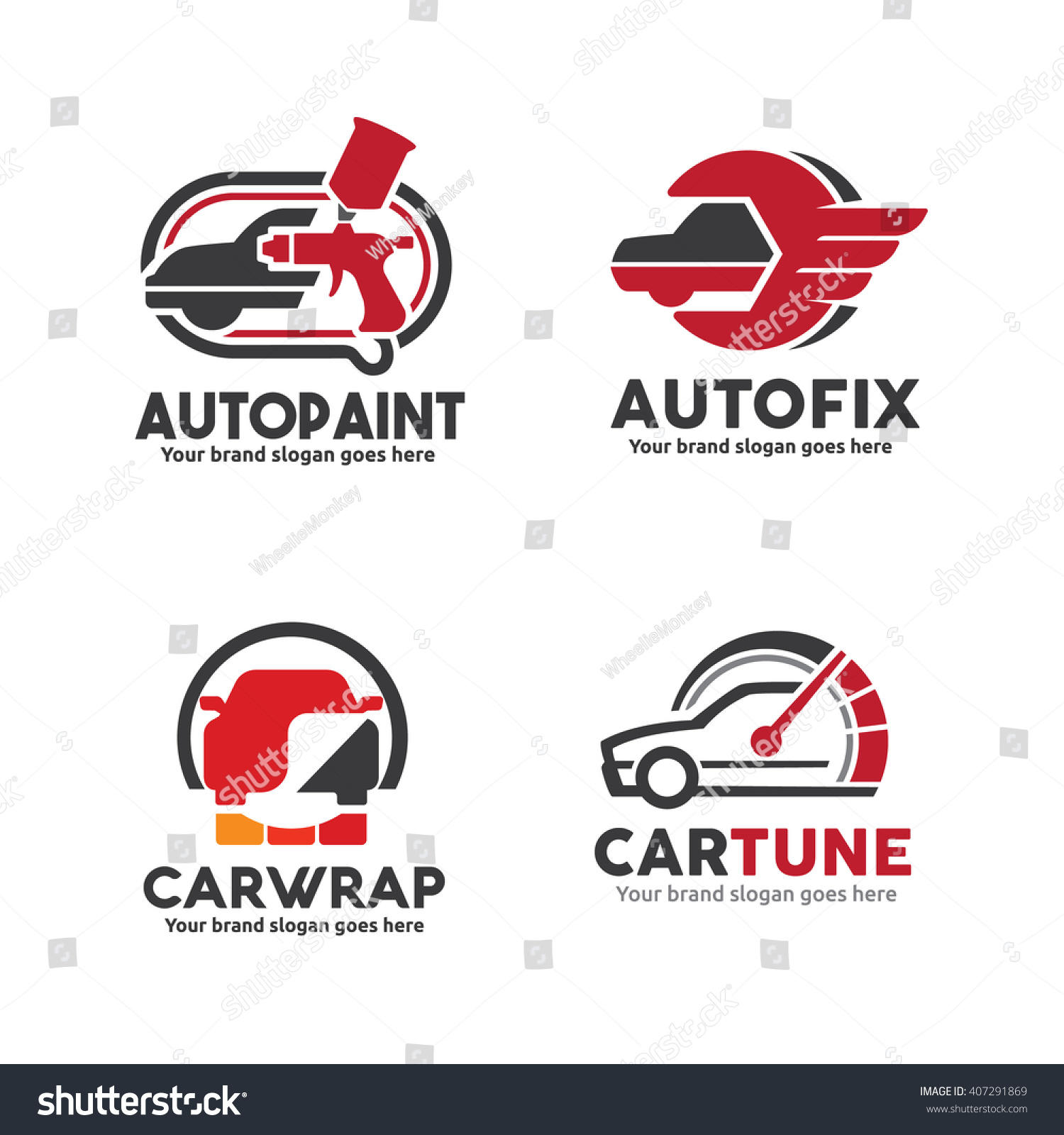 Car design sticker vector graphics - Car Service Logo Set Including Body Paint Sticker Wrap Engine Performance Upgrade And Repair