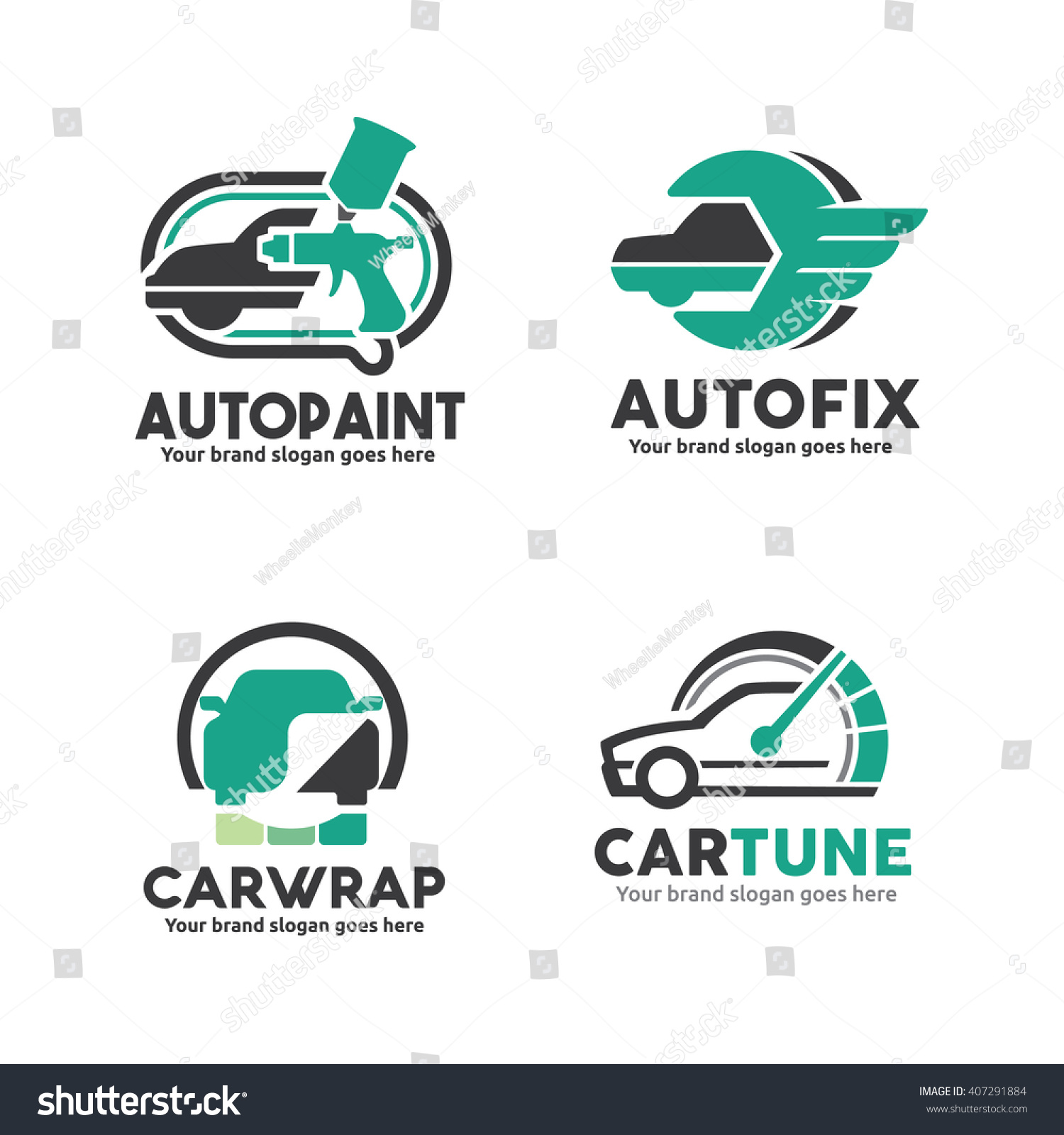 Car service logo template set car paint logo car service logo car sticker