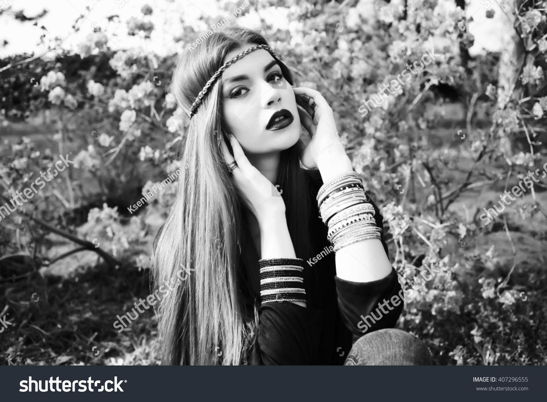 beautiful bohemian spring garden black stock photo 407296555