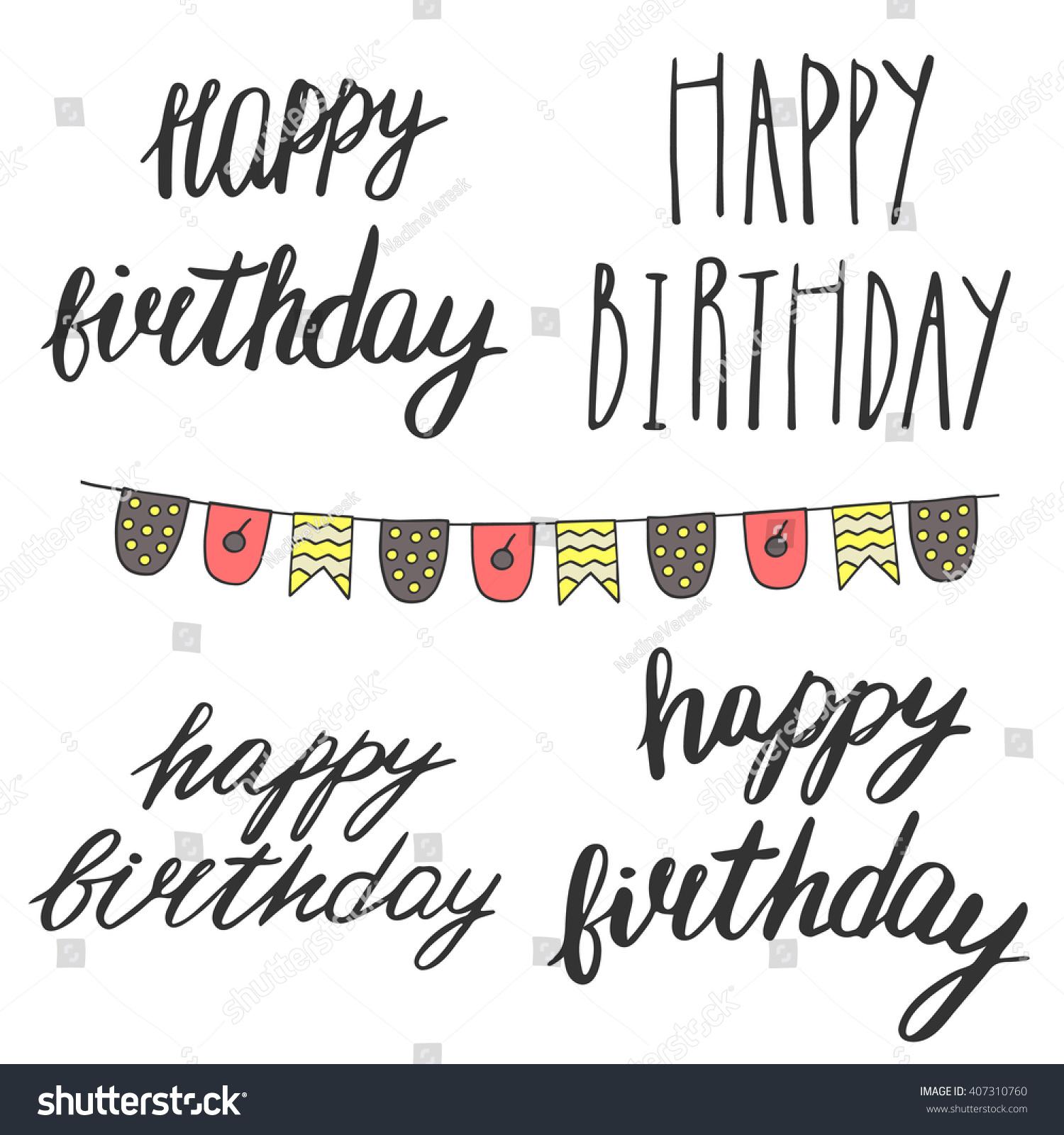 Hand Drawn Doodle Happy Birthday Quotes Stock Vector
