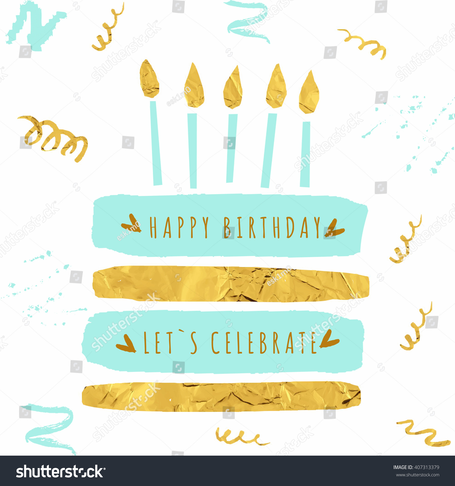 Cute Happy Birthday Card With Cake Candles And Trendy Gold Texture Vector Illustration