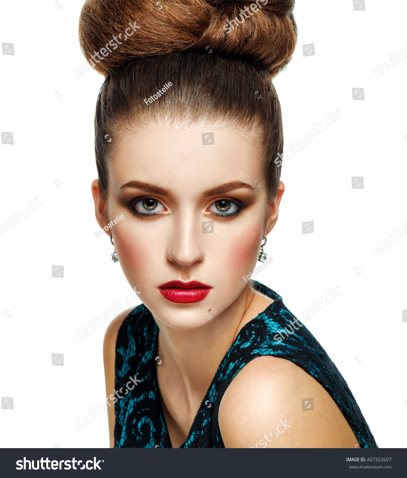 Beautiful Model Girl With Updo Hairstyle And Stylish