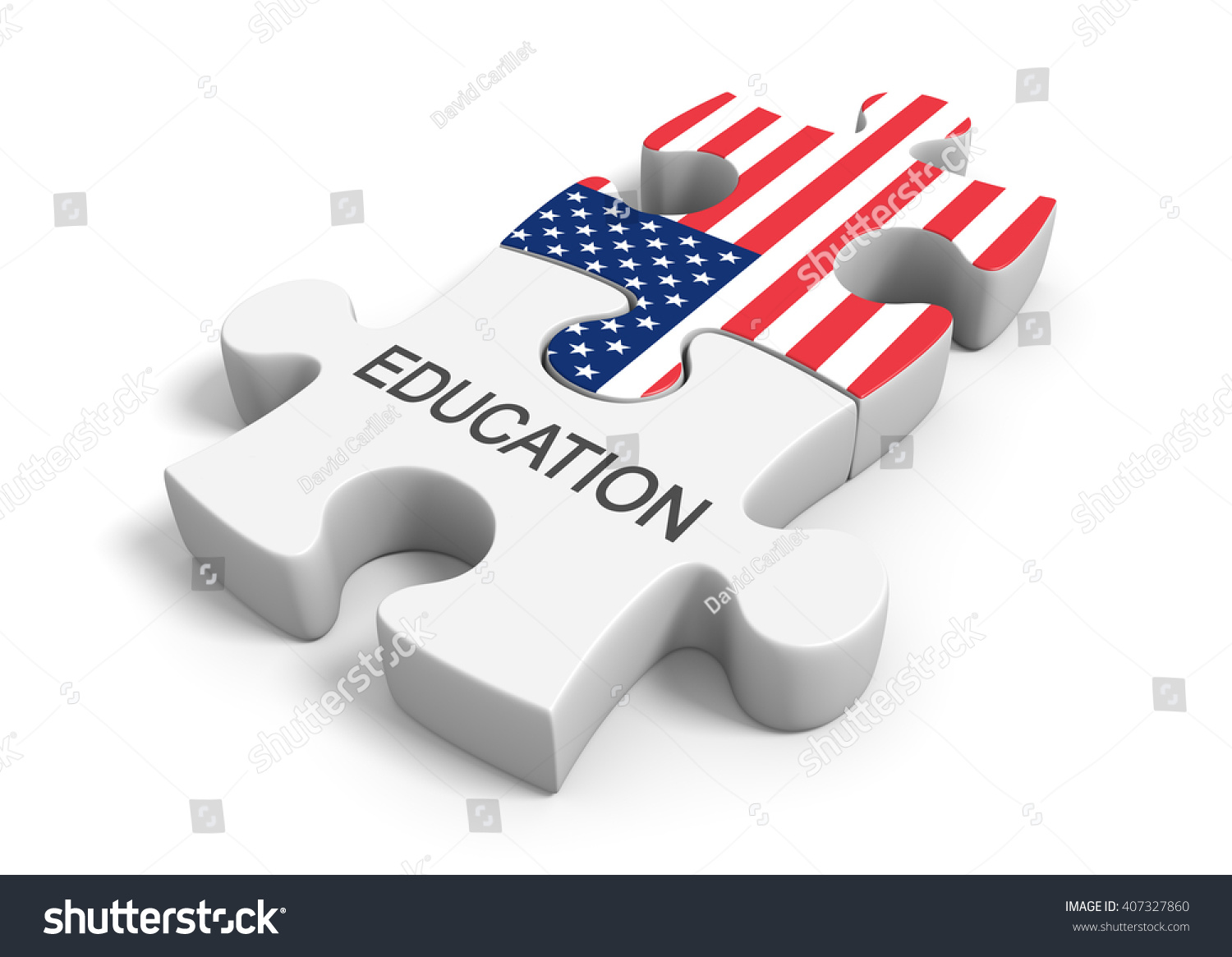 3 D Rendering Puzzle Concept Education United Stock Illustration