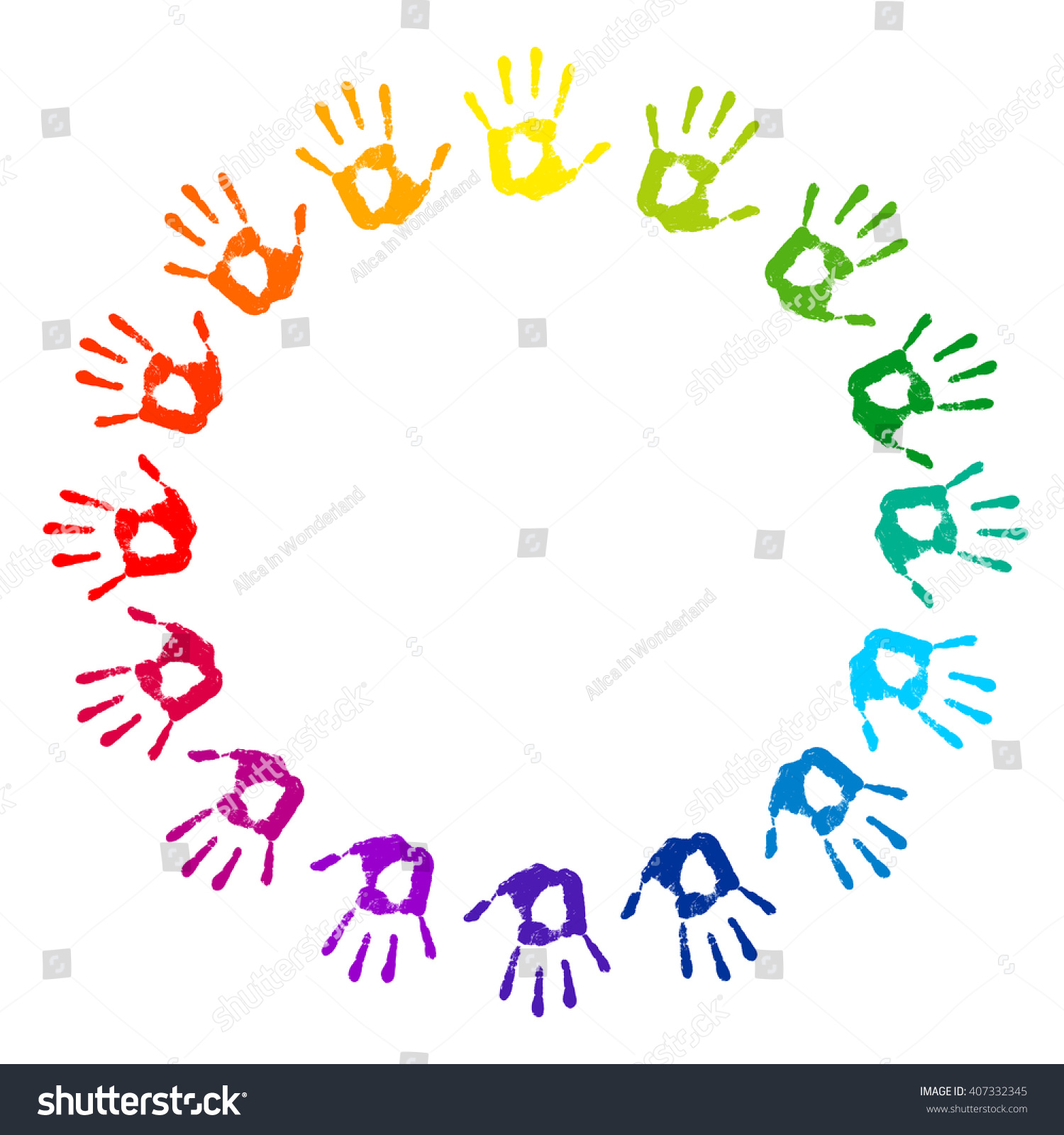 Hand Print Round Frame On A White Background Multicolored Hands Prints Color Circle