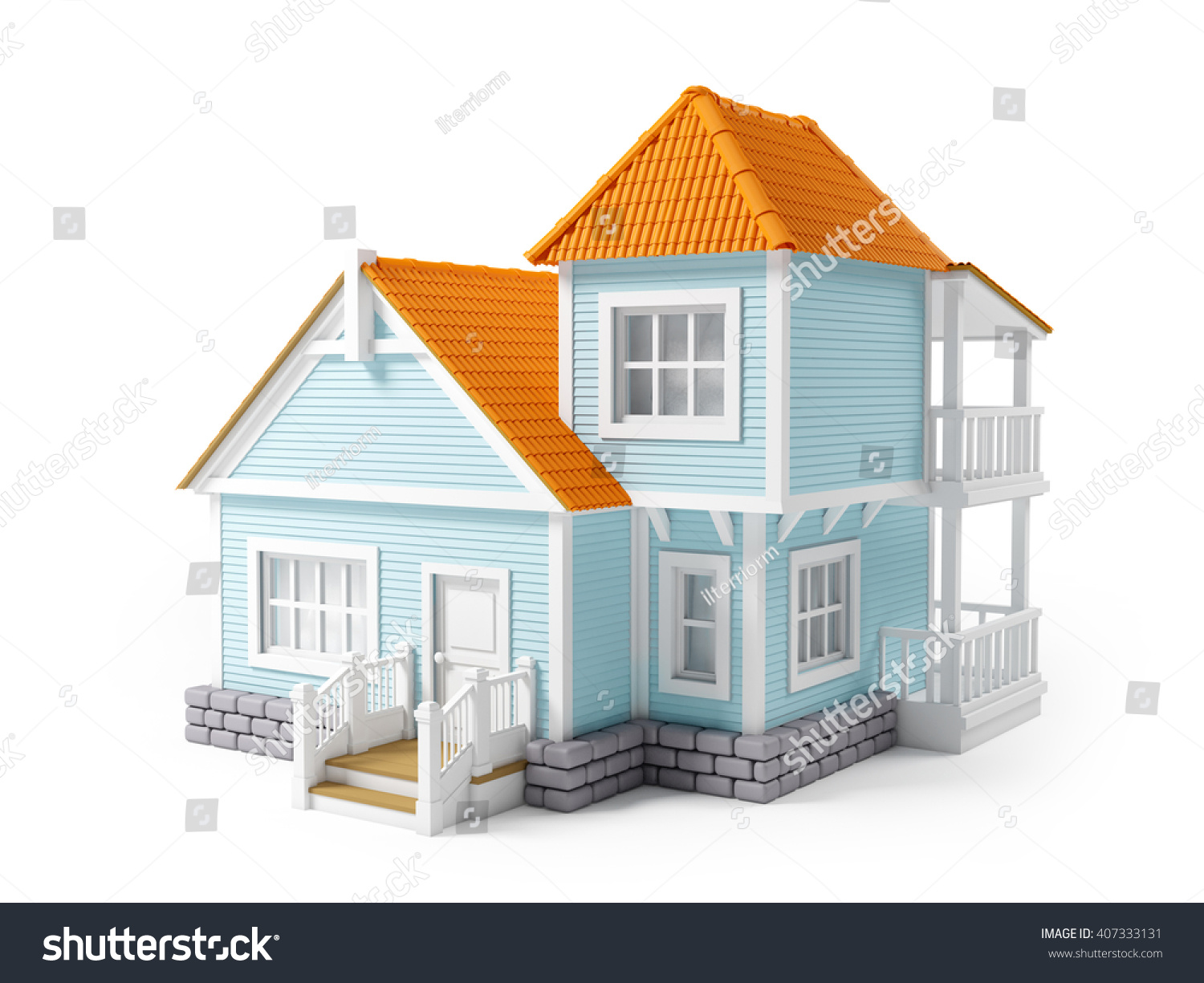 ShutterStock Victorian Cartoon Family House Isolated On White 3D