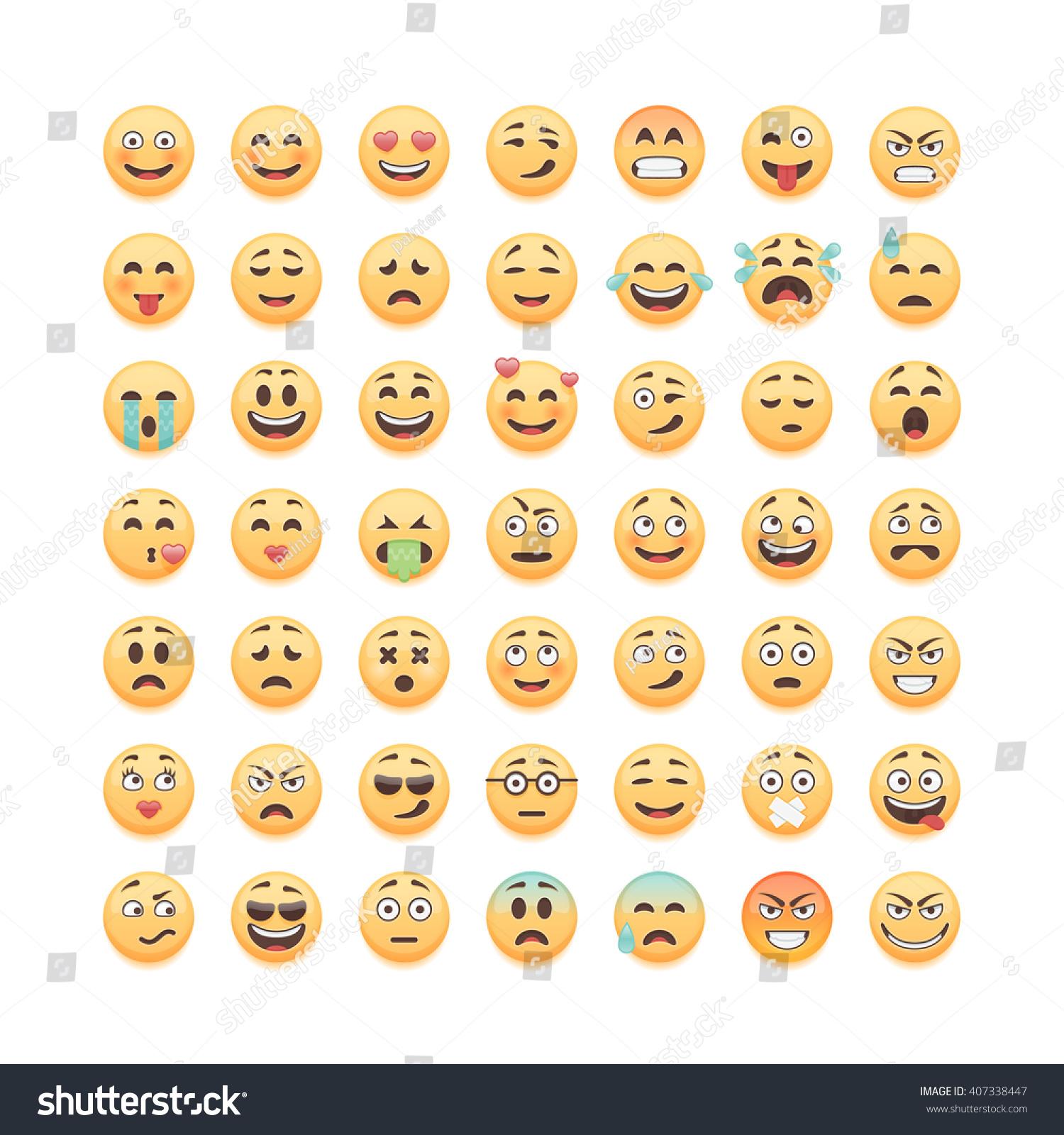 Set of emoticons emoji isolated on white background vector illustration