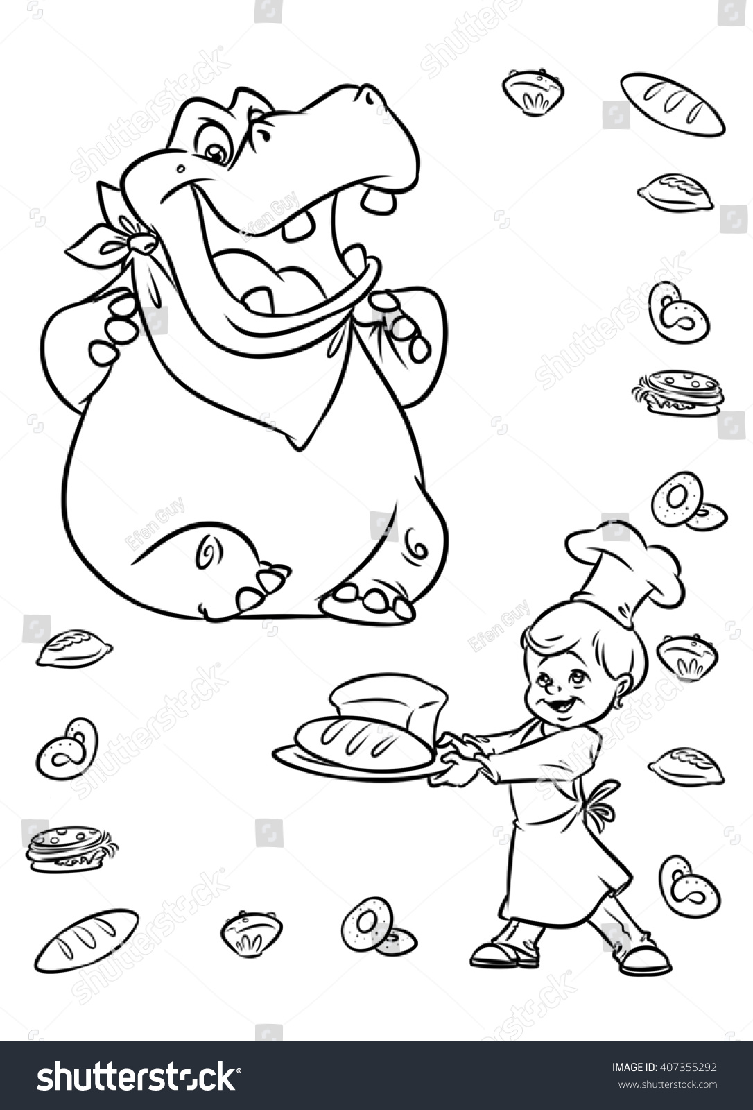 Hippo Animals Eating Bread Boy Chef Stock Illustration Royalty