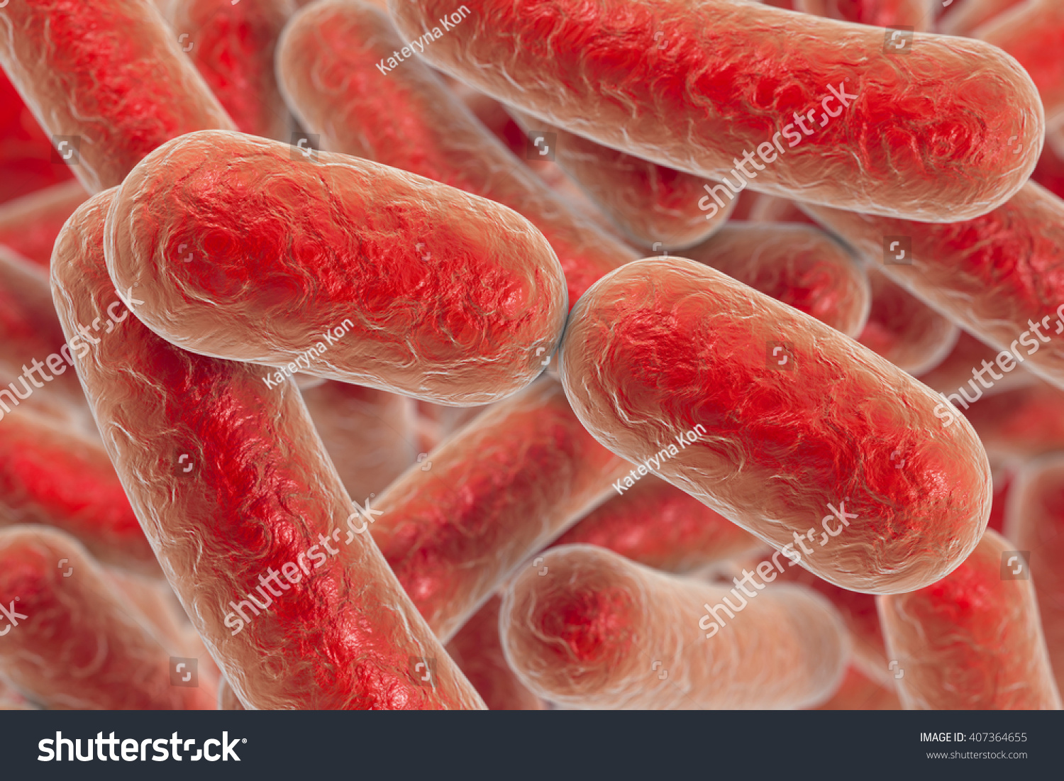Bacterial infection Rod-shaped bacteria 3D illustration