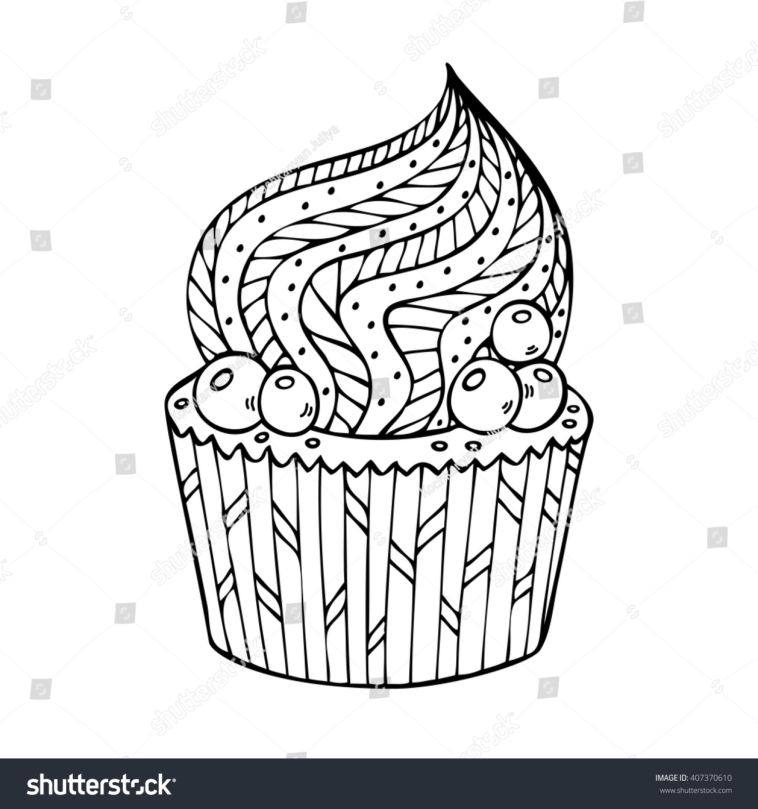 Cupcake Coloring Adults Coloring Book Page Stock Vector (Royalty ...