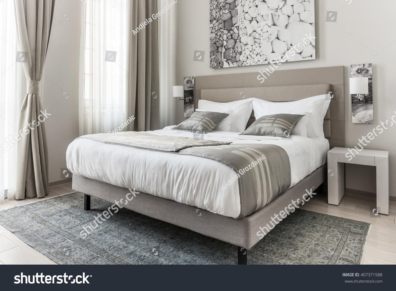 Modern Beige Bedroom Stock Photo Edit Now 407371588
