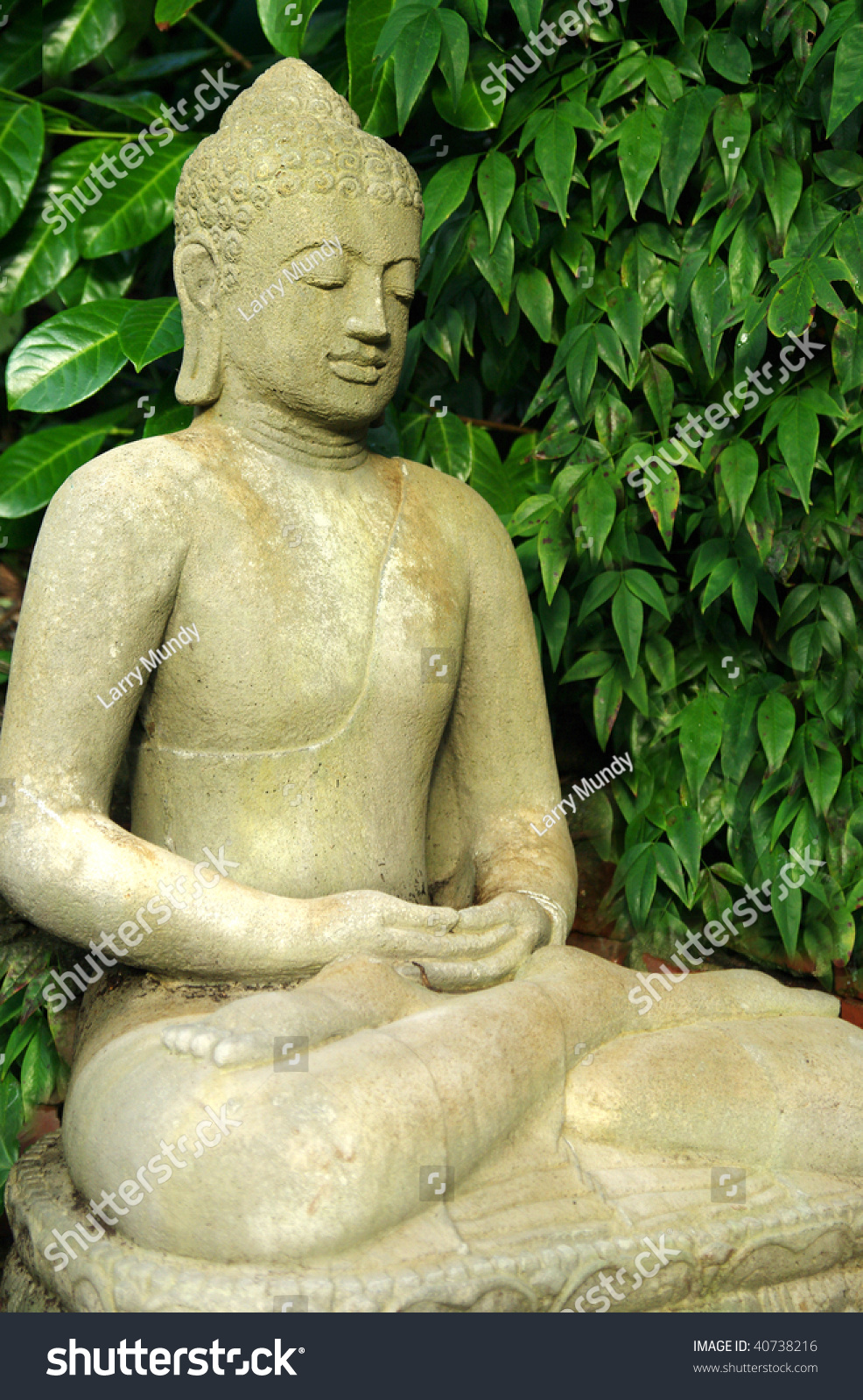 Garden Buddha Statue In Full Lotus Position Stock Photo 40738216